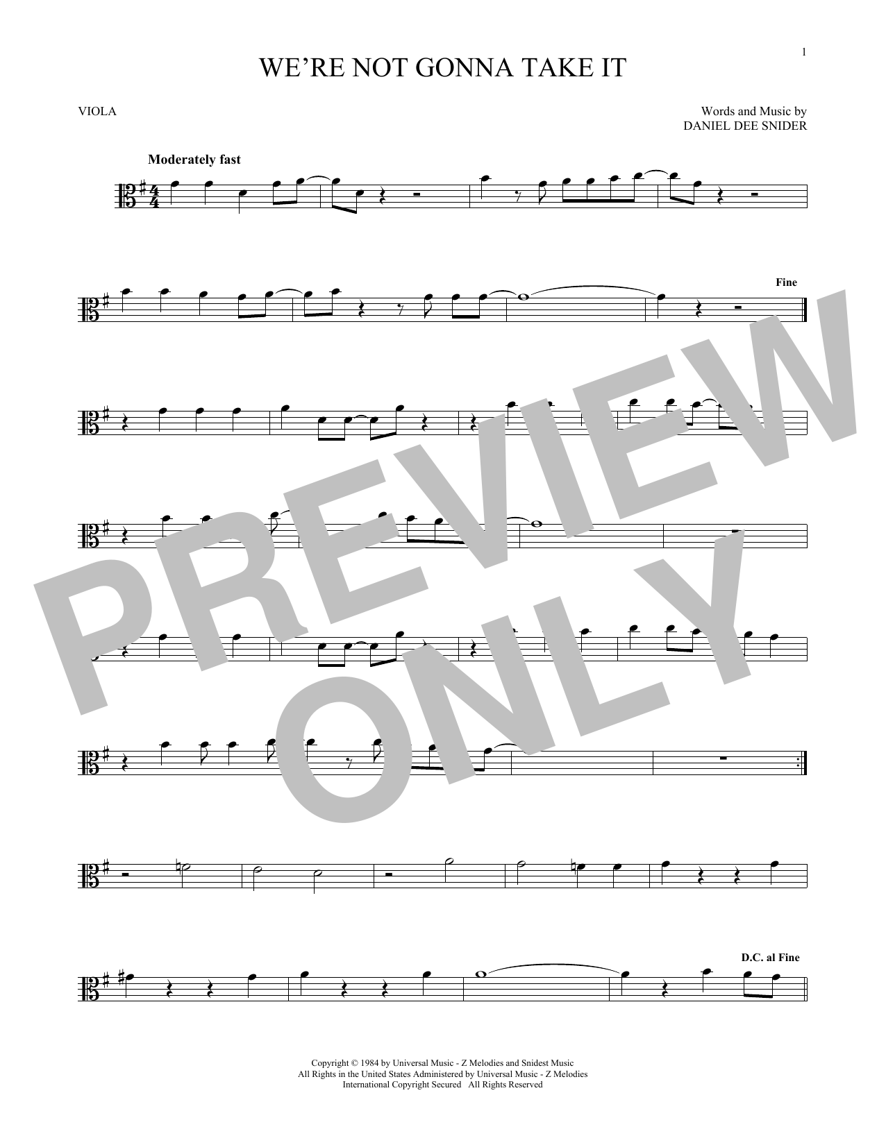 We're Not Gonna Take It (Viola Solo)