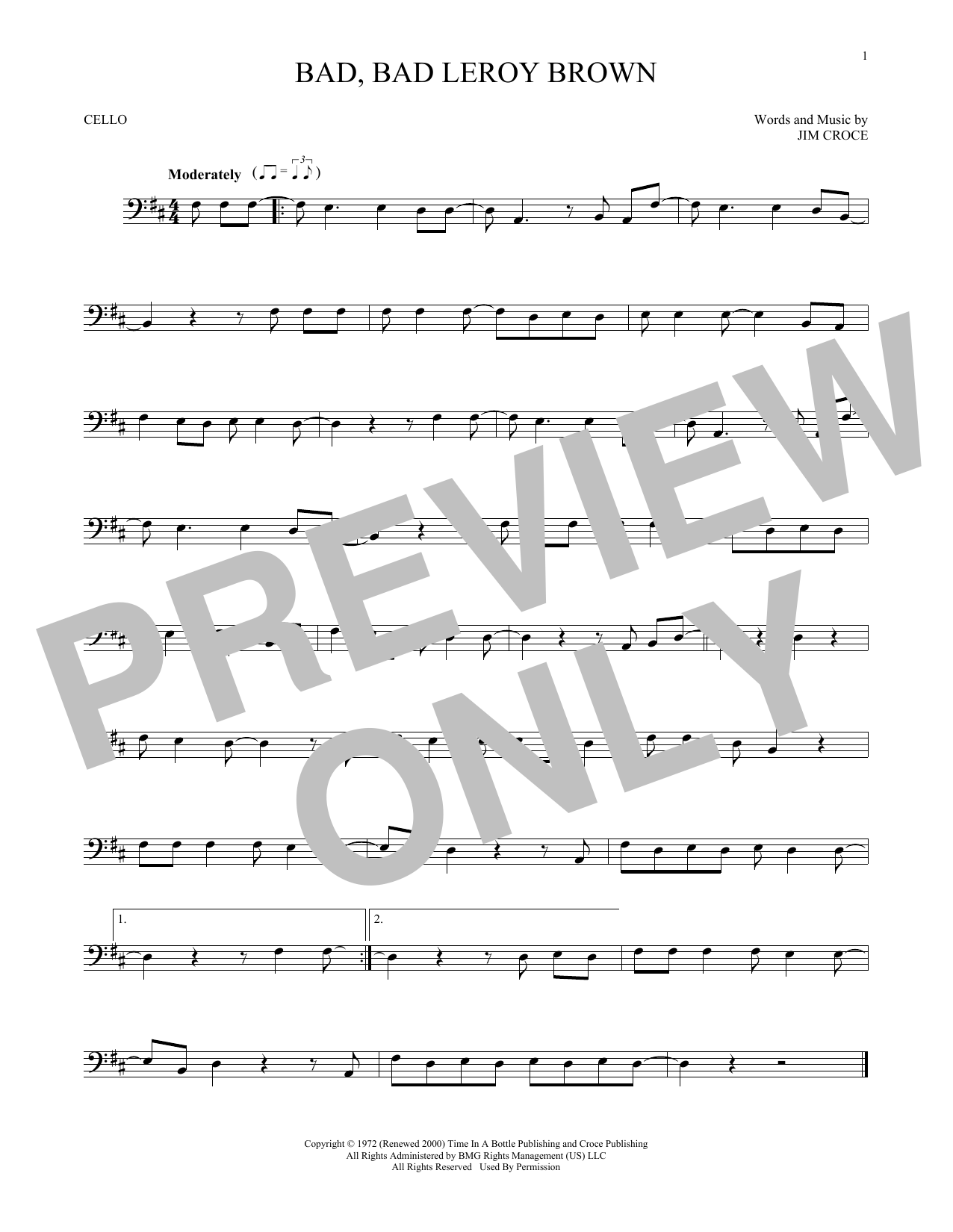 Bad, Bad Leroy Brown (Cello Solo)