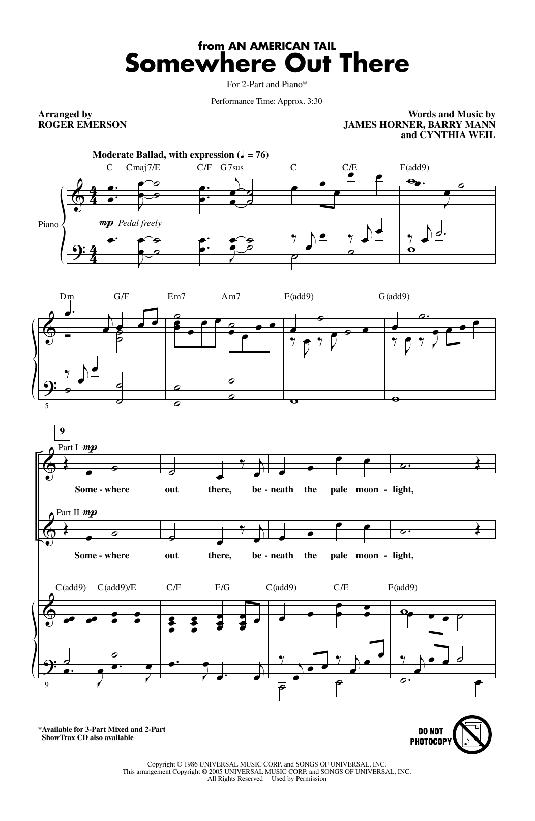 Somewhere Out There (from An American Tail) (arr. Roger Emerson) (2-Part Choir)