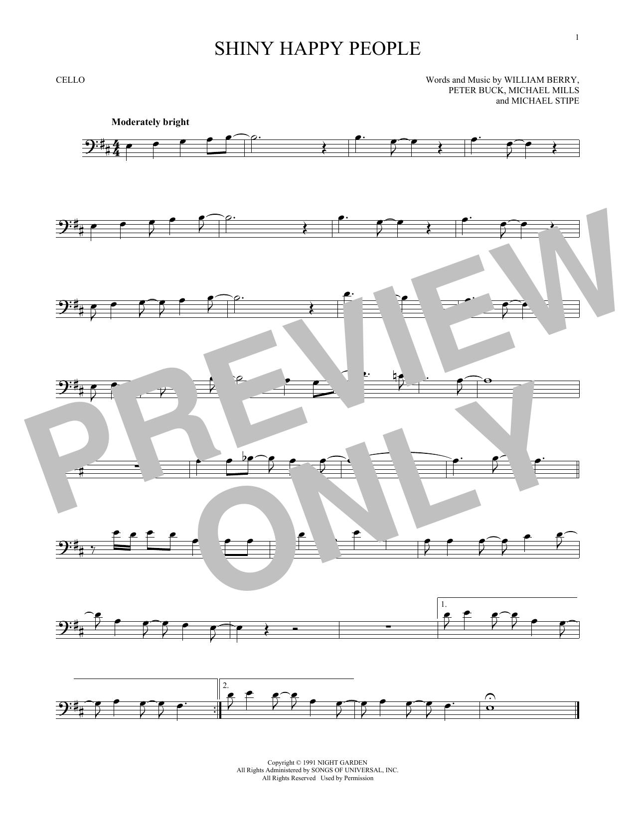 Shiny Happy People (Cello)