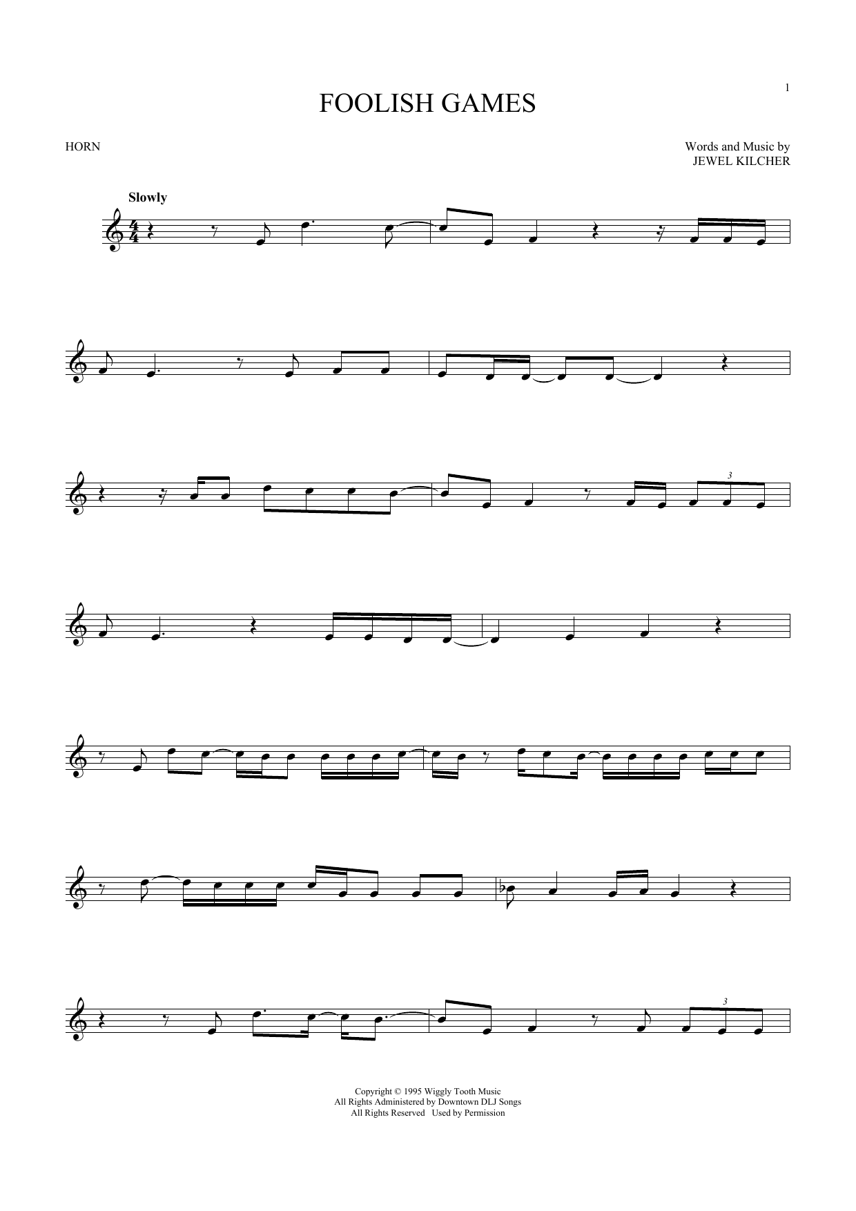 Foolish Games (French Horn Solo)