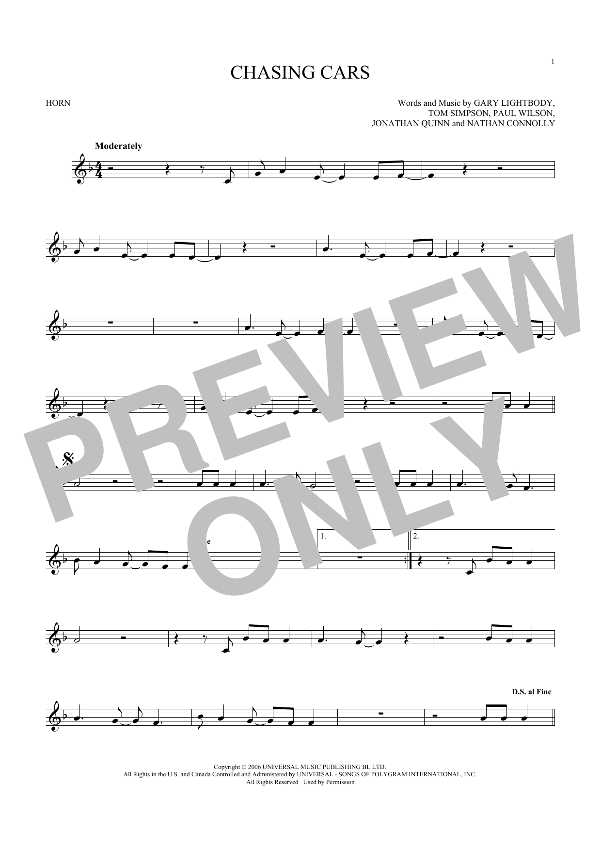 Chasing Cars (French Horn Solo)