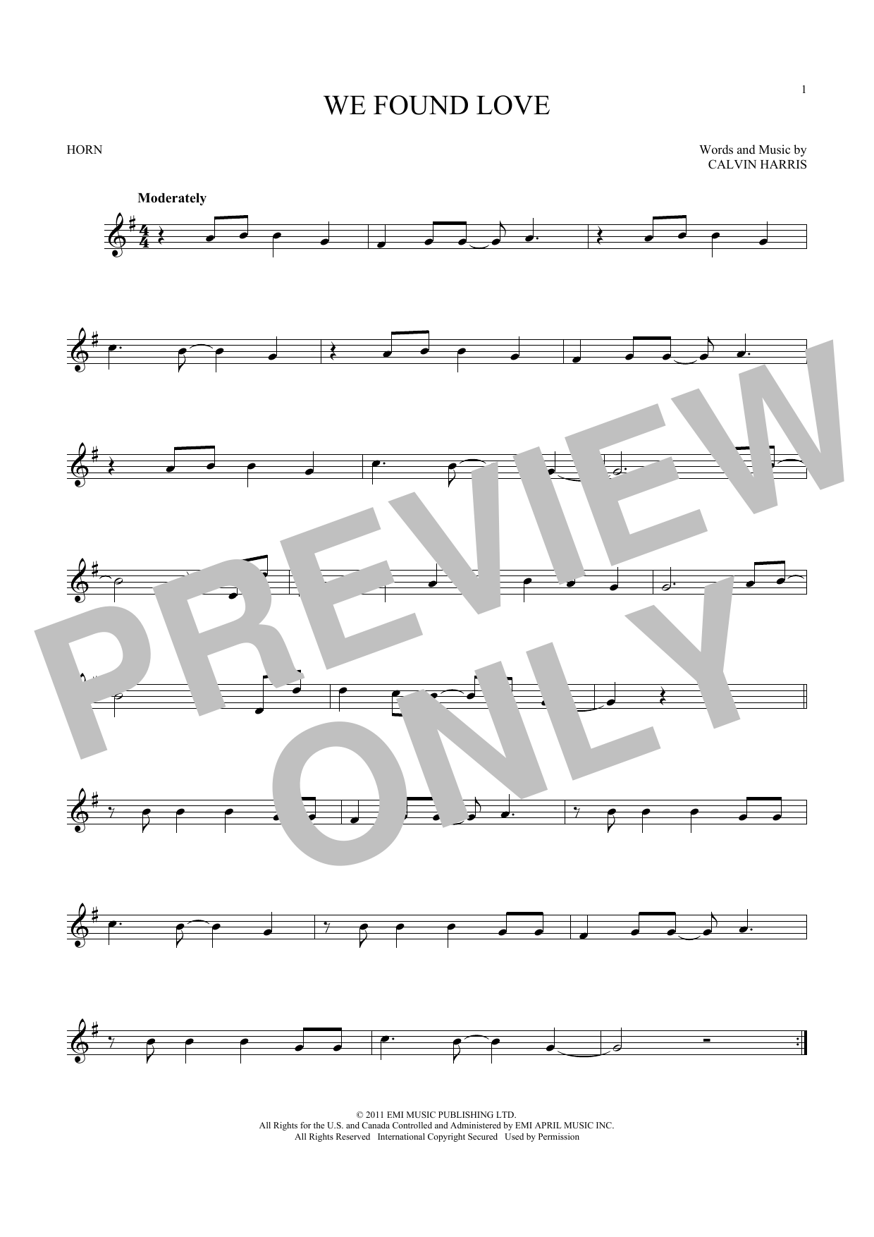 We Found Love (feat. Calvin Harris) (French Horn Solo)