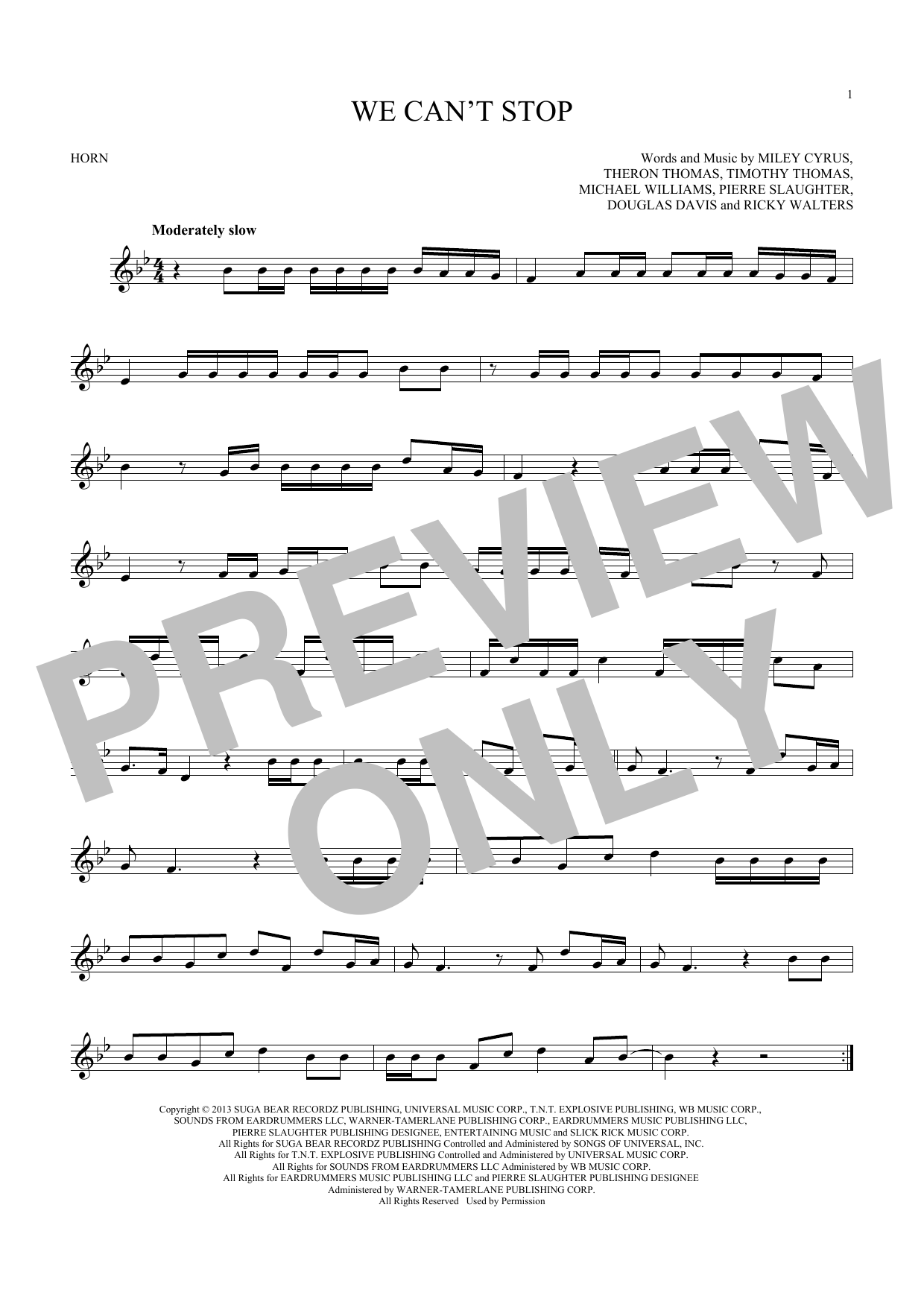 We Can't Stop (French Horn Solo)