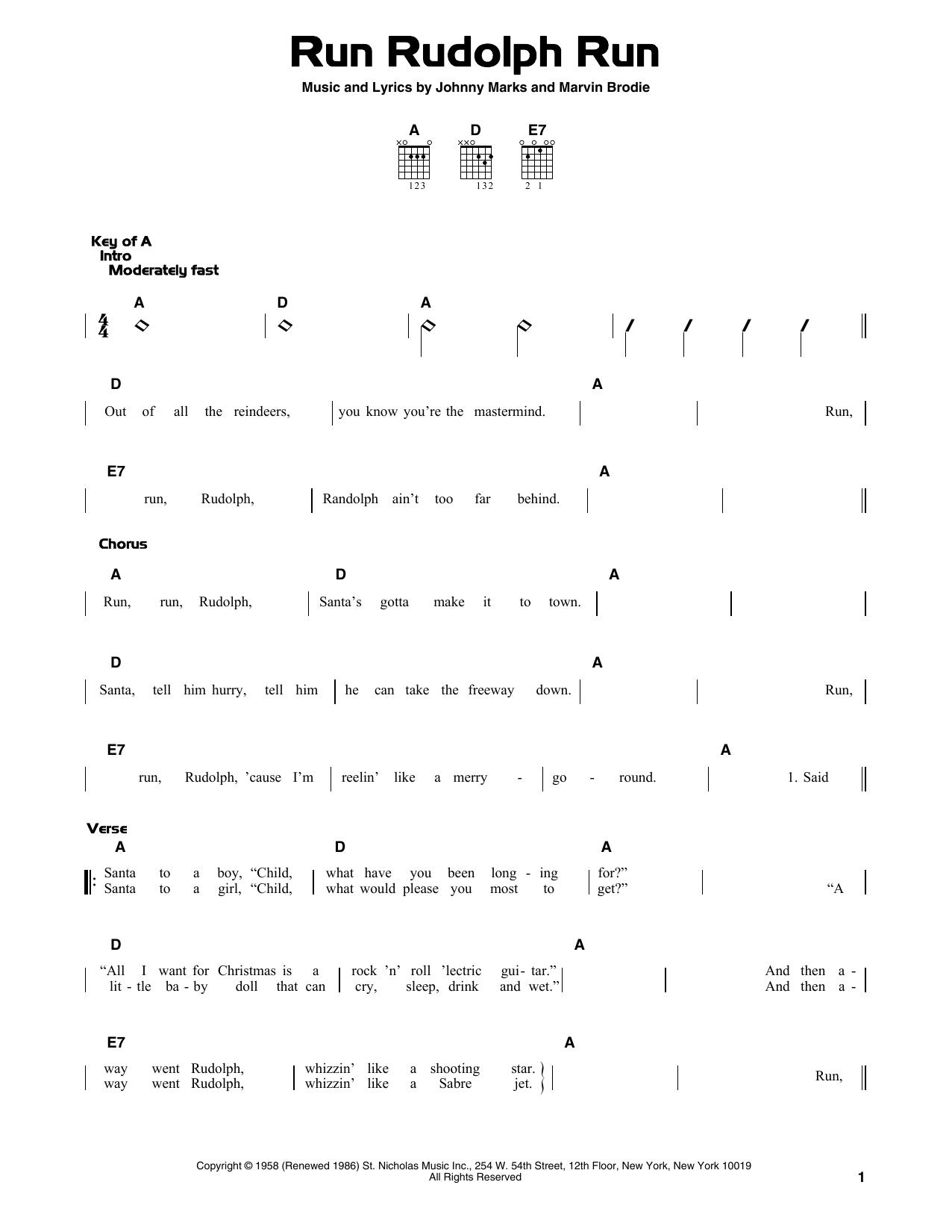 Run Rudolph Run (Guitar Lead Sheet)