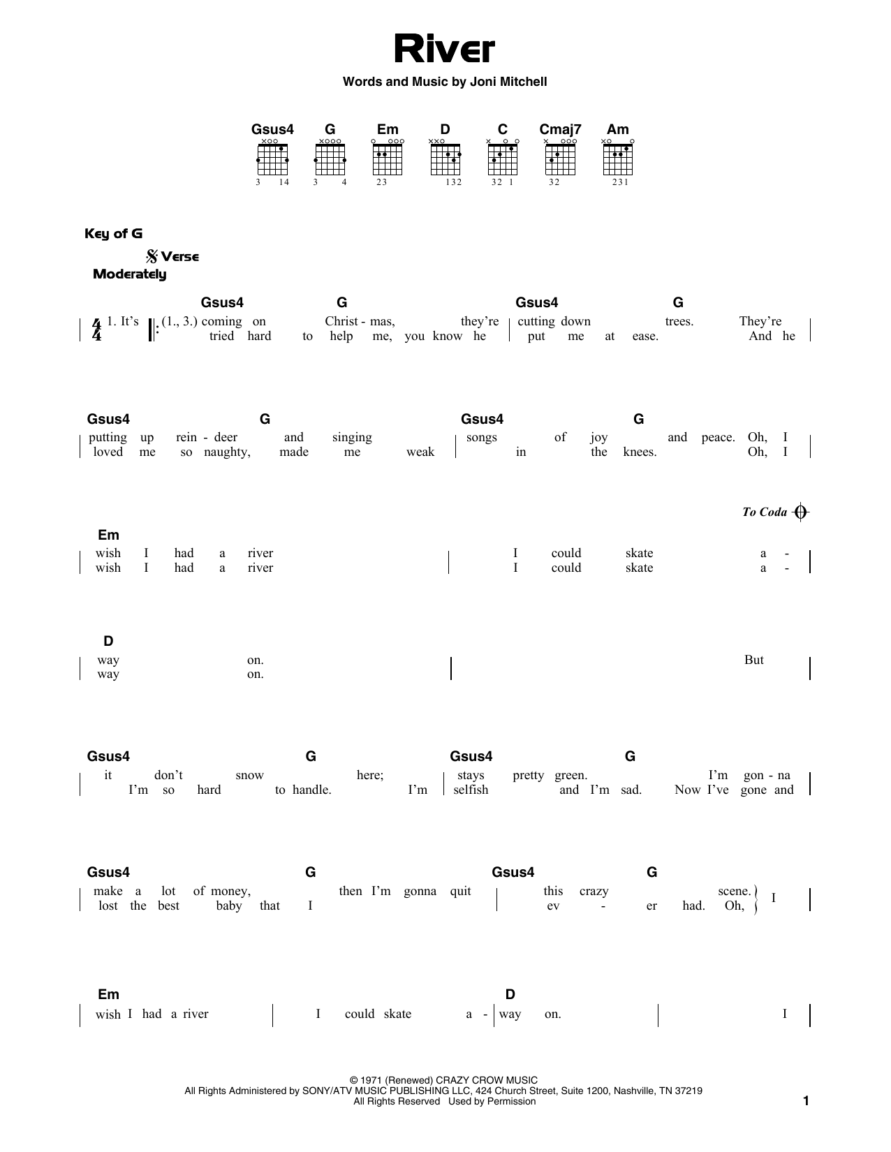 River Sheet Music Joni Mitchell Guitar Lead Sheet