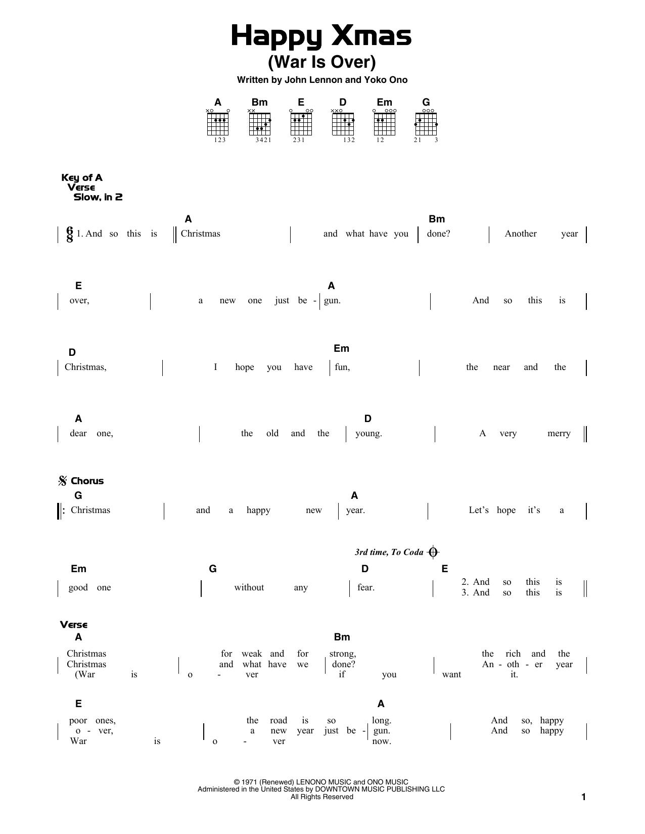 Happy Xmas (War Is Over) (Guitar Lead Sheet)