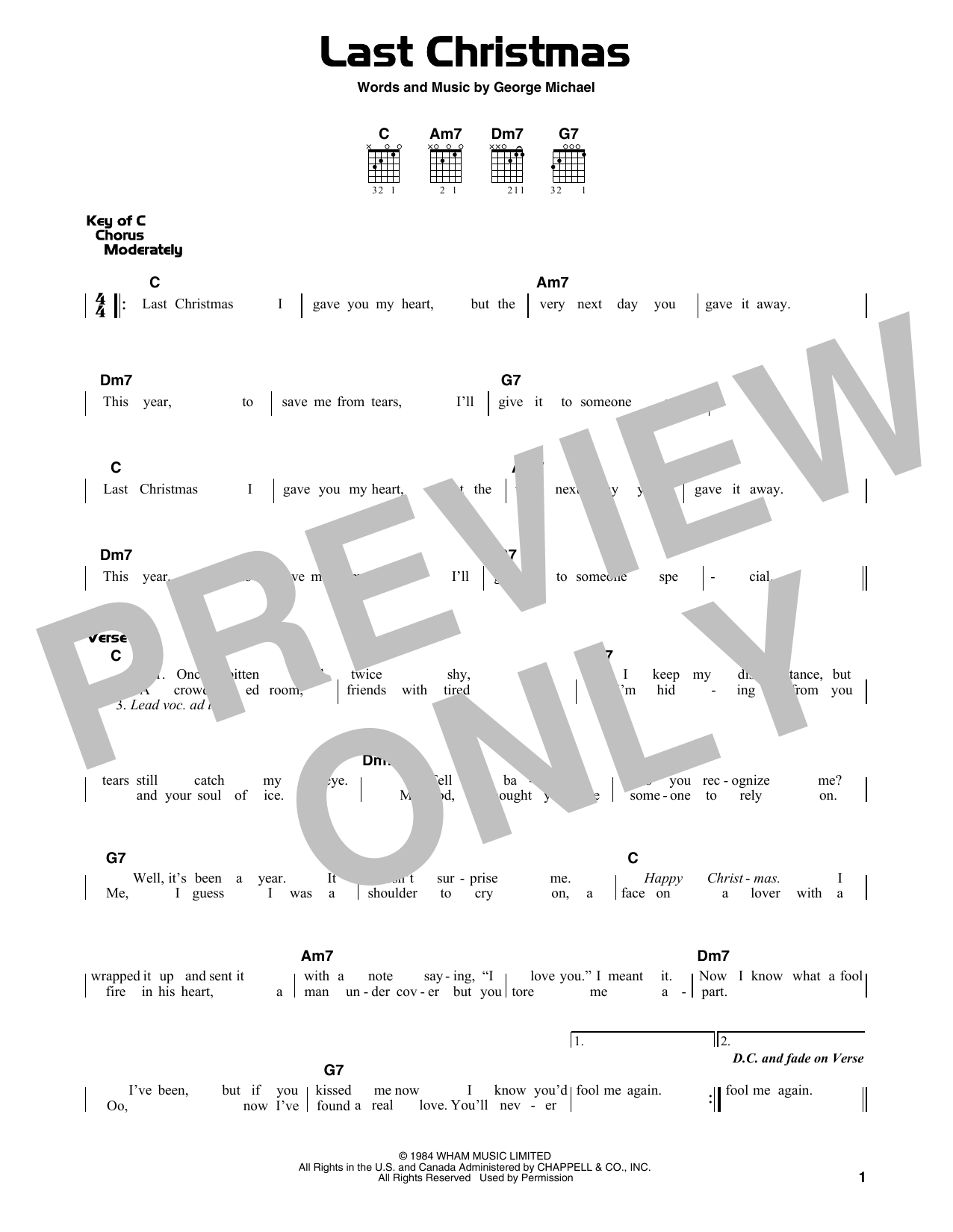 Last Christmas (Guitar Lead Sheet)