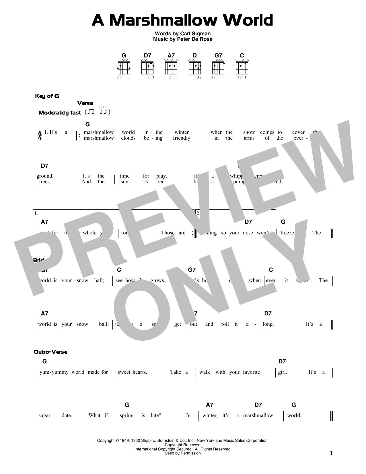 A Marshmallow World (Guitar Lead Sheet)