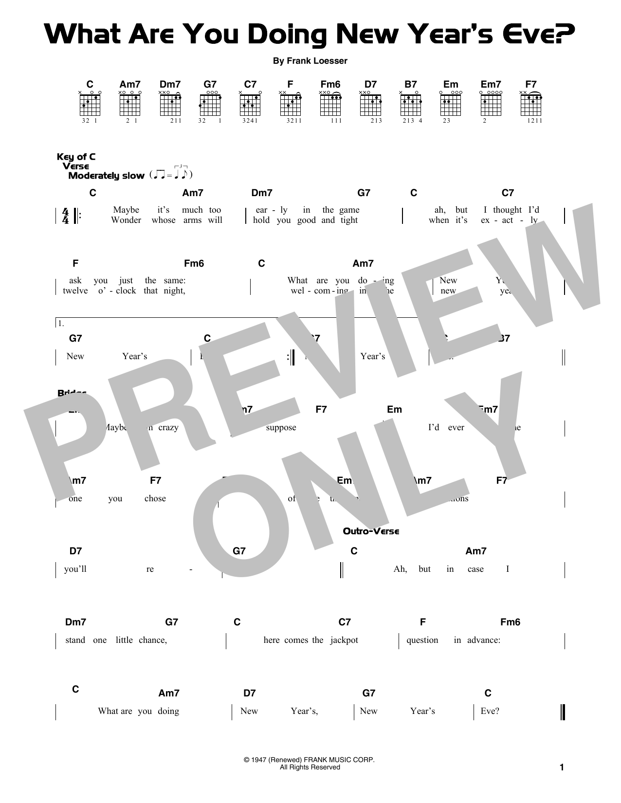 What Are You Doing New Year's Eve? (Guitar Lead Sheet)