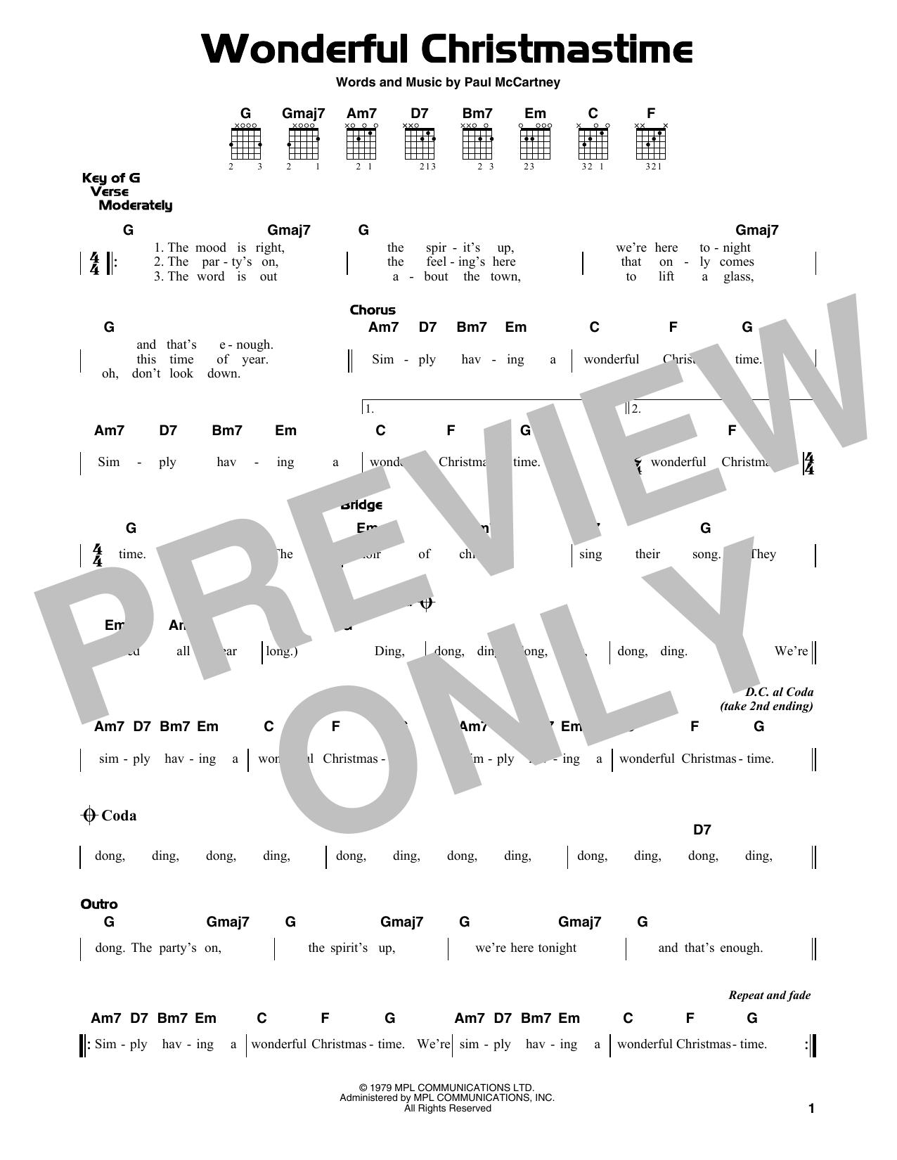 Wonderful Christmastime (Guitar Lead Sheet)
