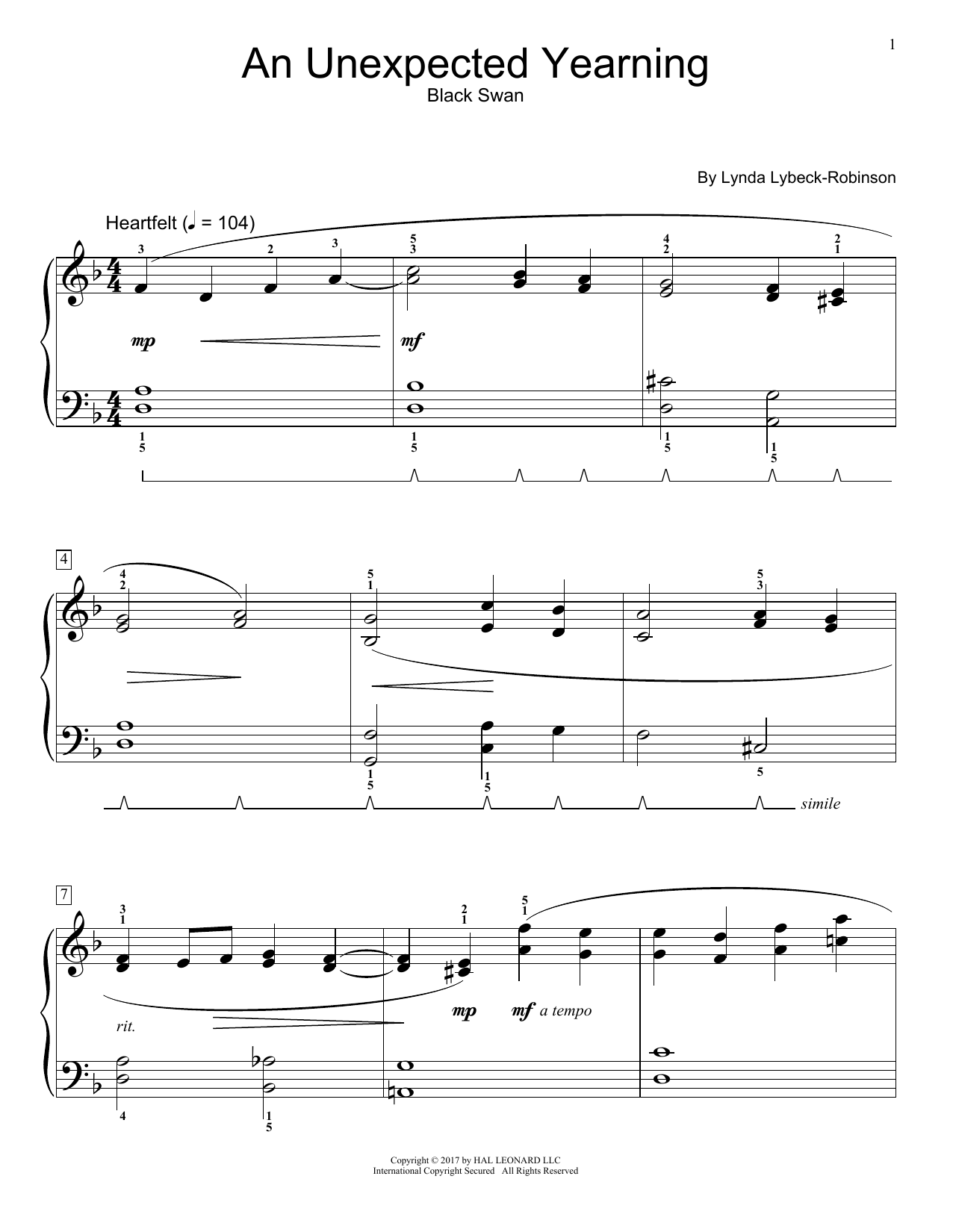An Unexpected Yearning (Educational Piano)