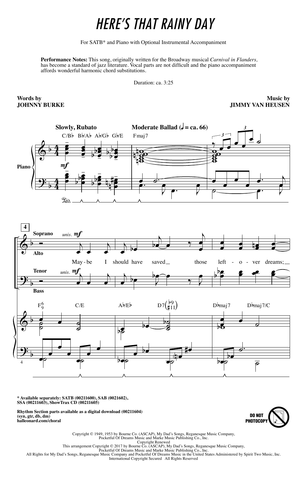 Partition chorale Here's That Rainy Day de Johnny Burke - SATB