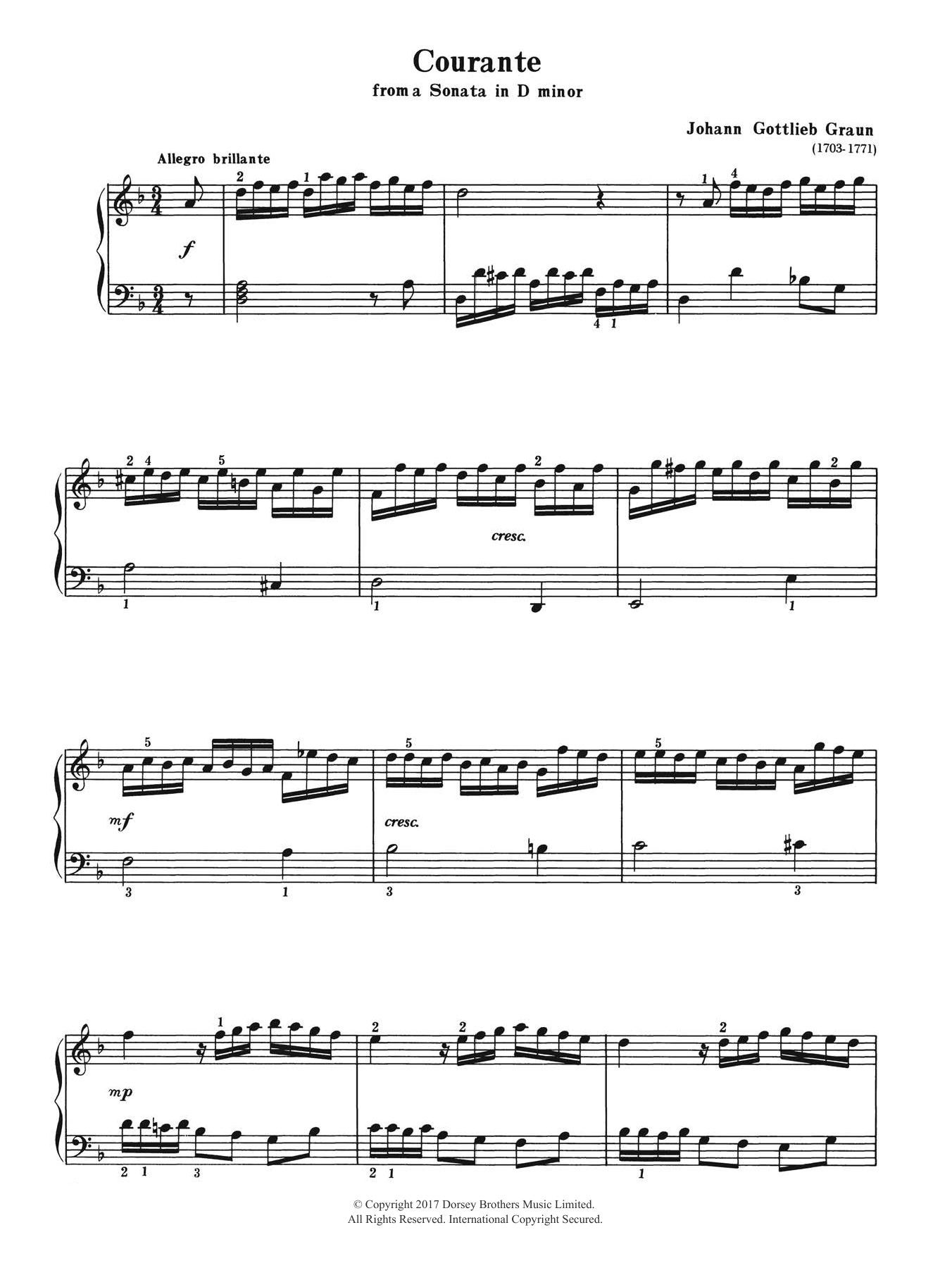 Courante (from a Sonata in D Minor) Sheet Music