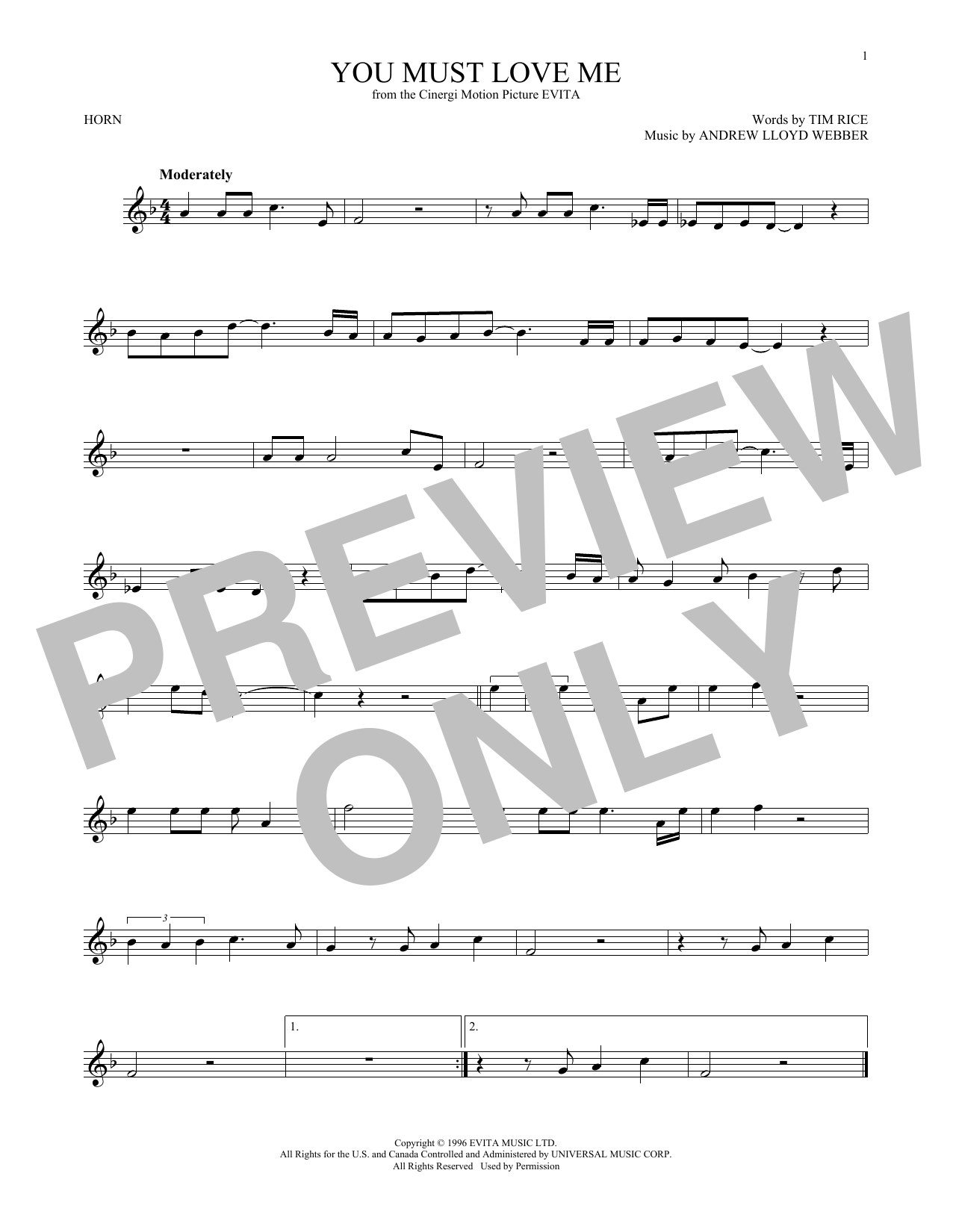 You Must Love Me (French Horn Solo)