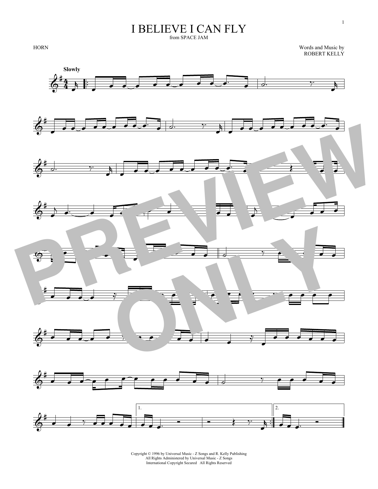 I Believe I Can Fly (French Horn Solo)