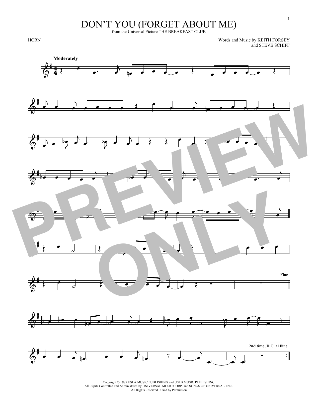 Don't You (Forget About Me) (French Horn Solo)