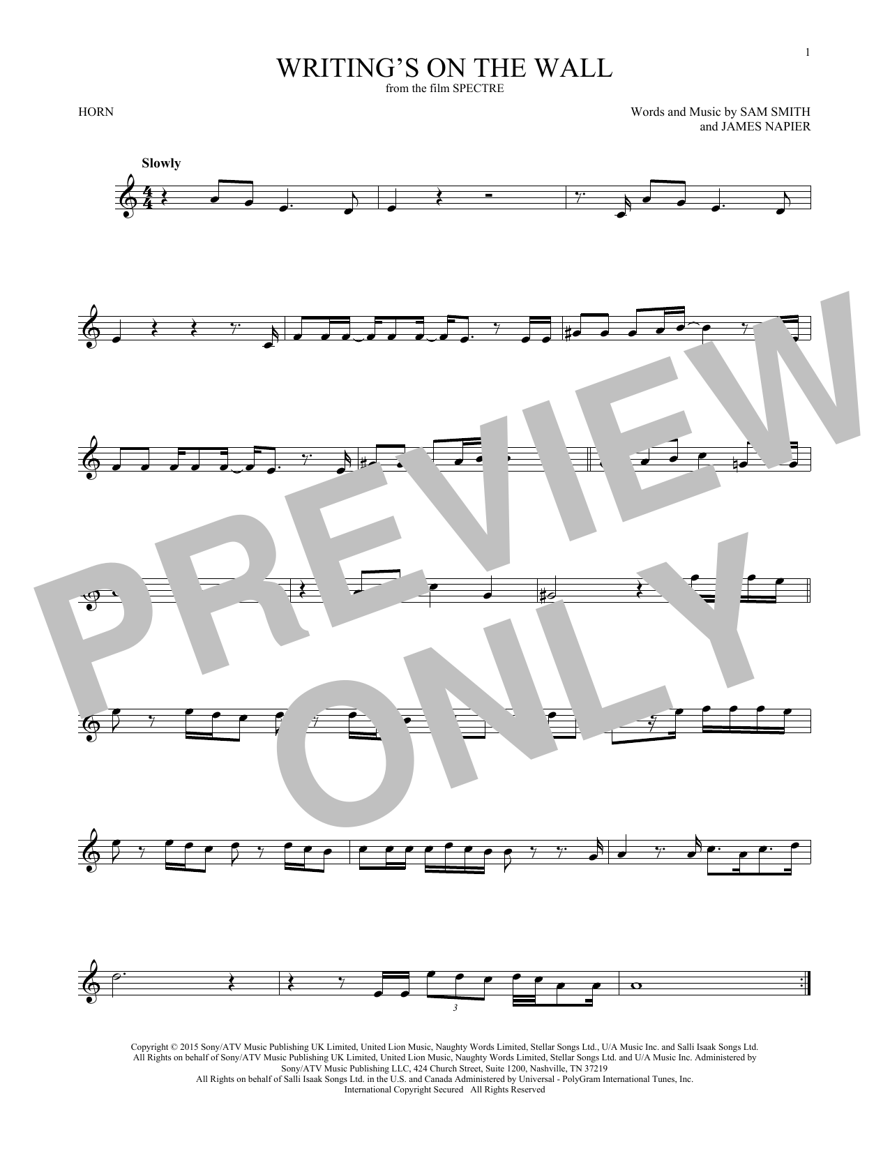 Writing's On The Wall (French Horn Solo)