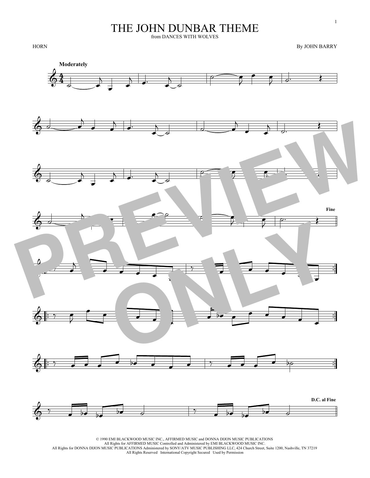 The John Dunbar Theme (French Horn Solo)