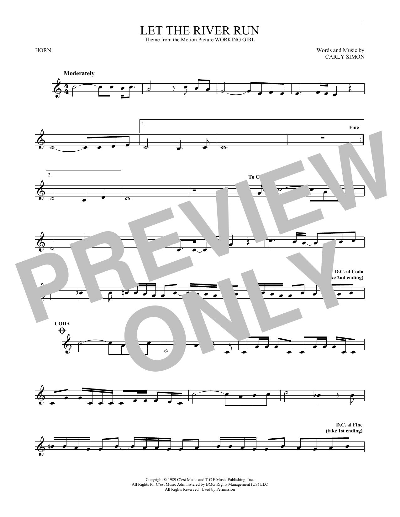 Let The River Run (French Horn Solo)