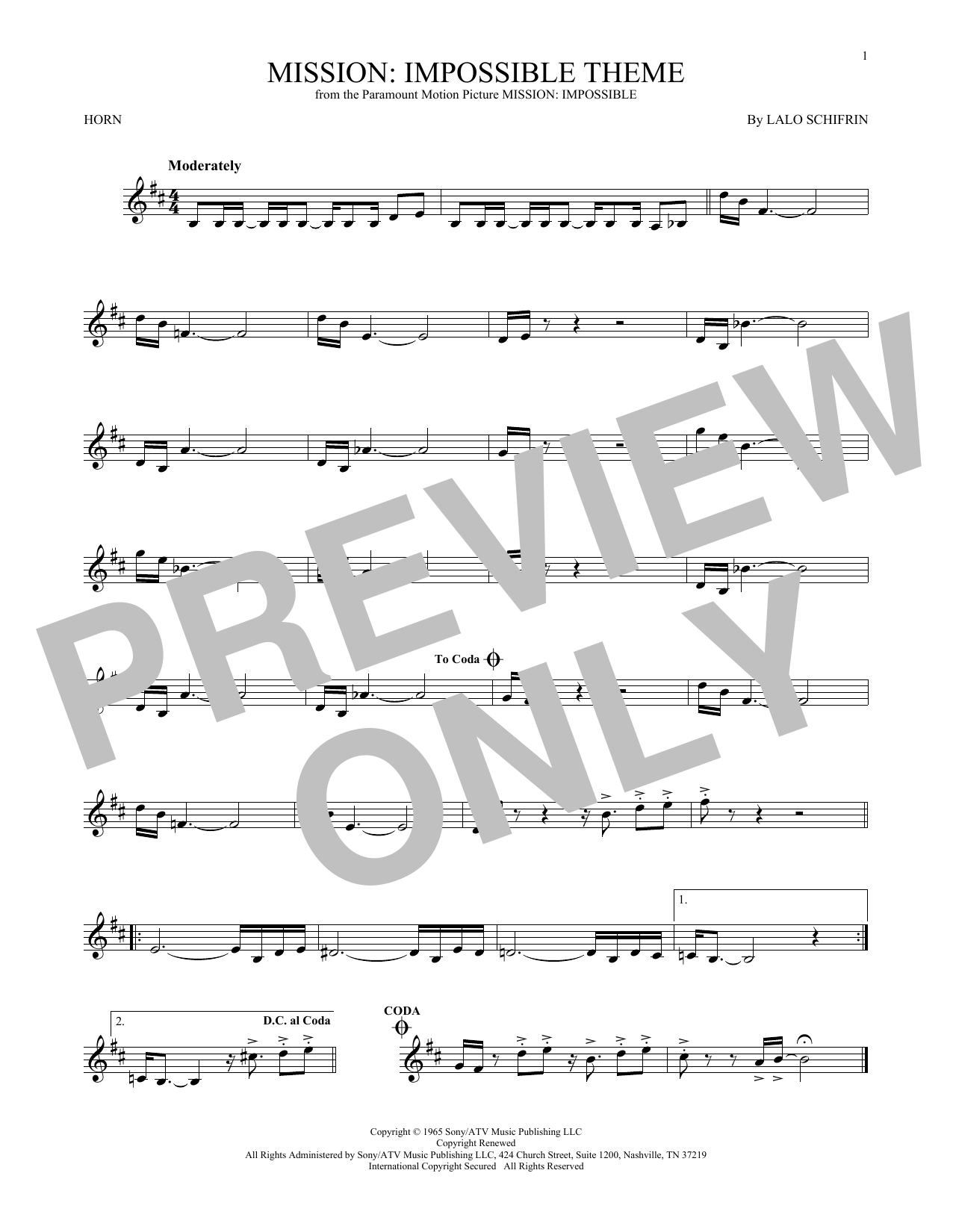 Mission: Impossible Theme (French Horn)