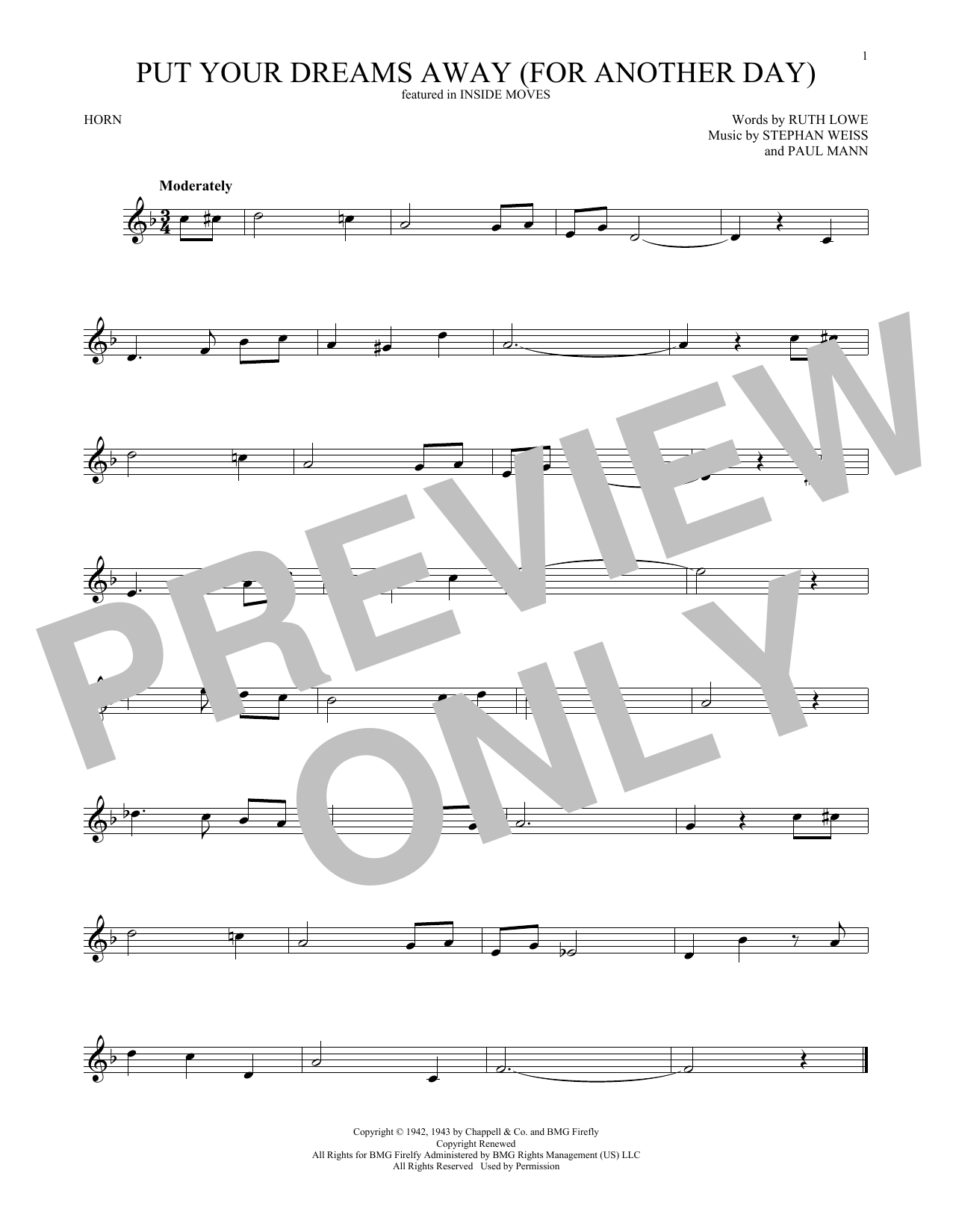Put Your Dreams Away (For Another Day) (French Horn Solo)