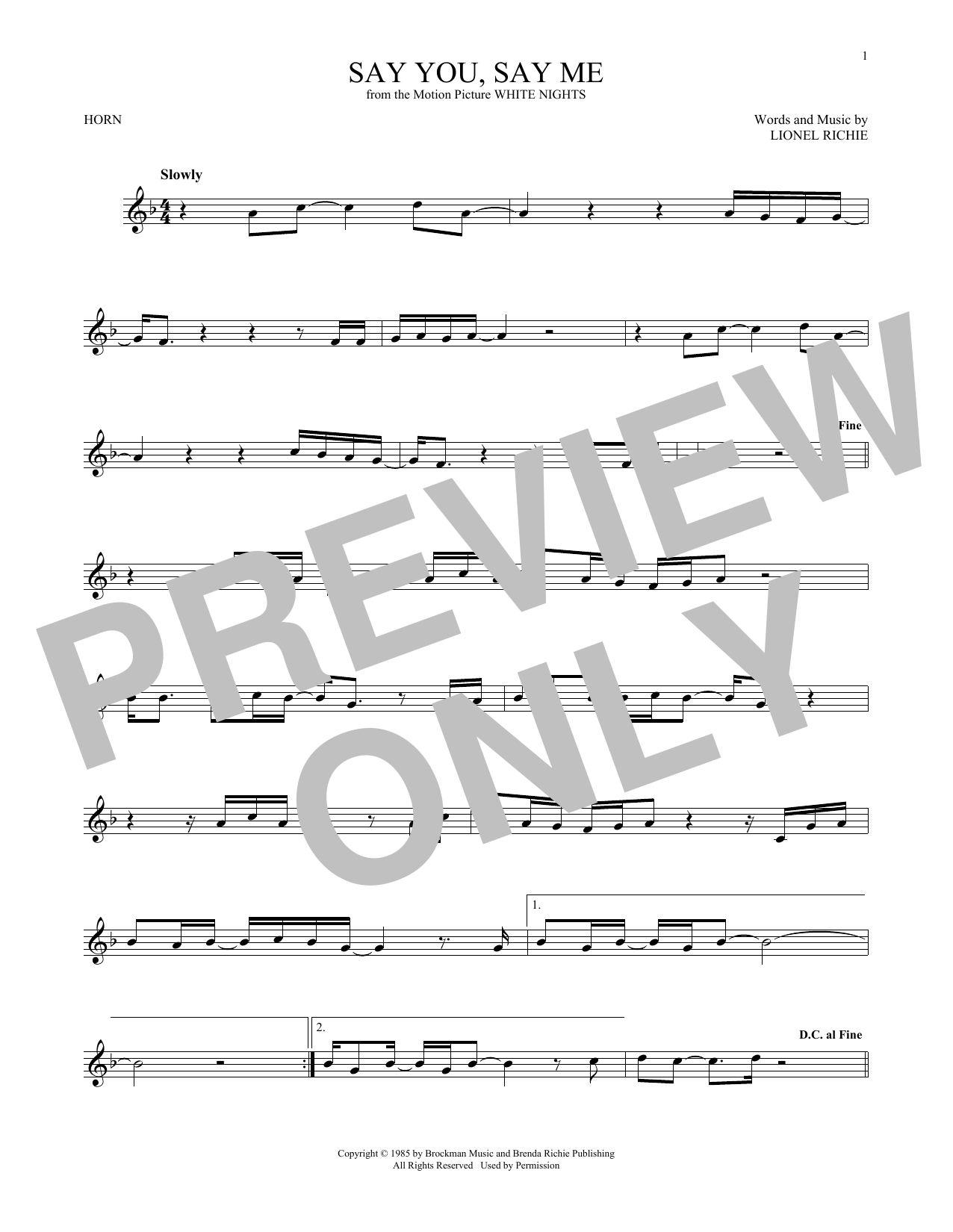 Say You, Say Me (French Horn)