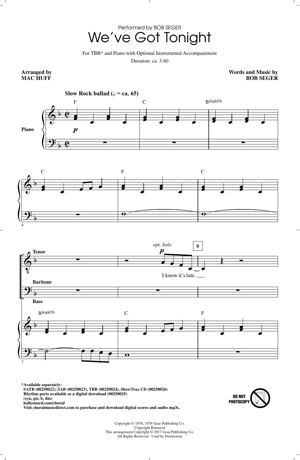 We've Got Tonight (TBB Choir)