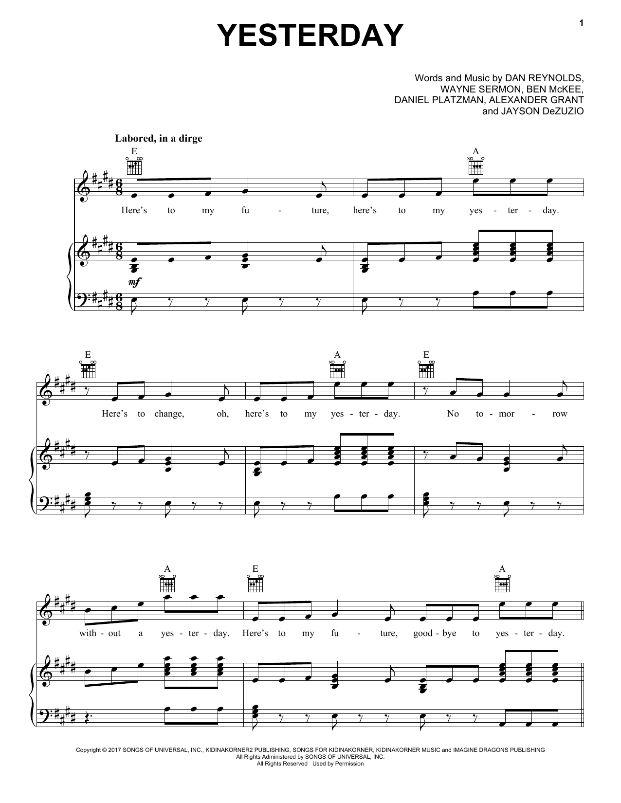Yesterday (Piano, Vocal & Guitar (Right-Hand Melody))