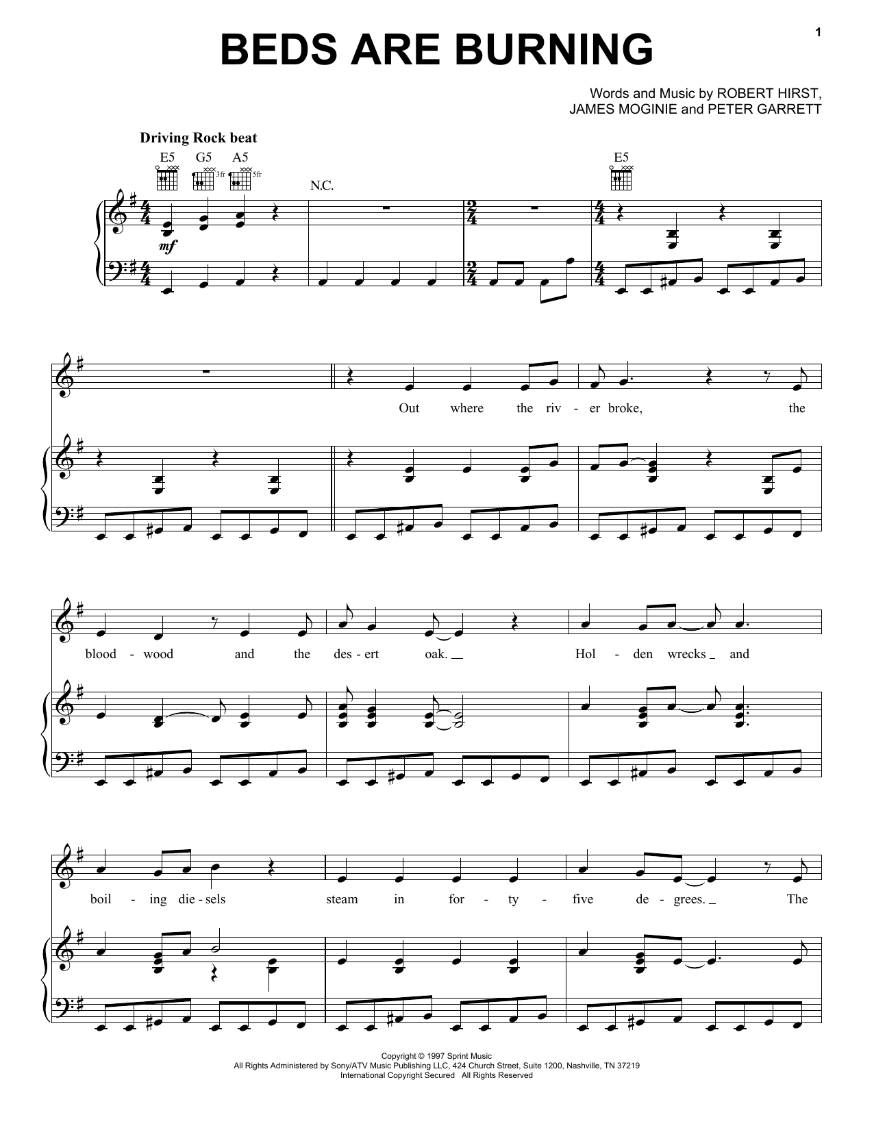 Beds Are Burning (Piano, Vocal & Guitar (Right-Hand Melody))