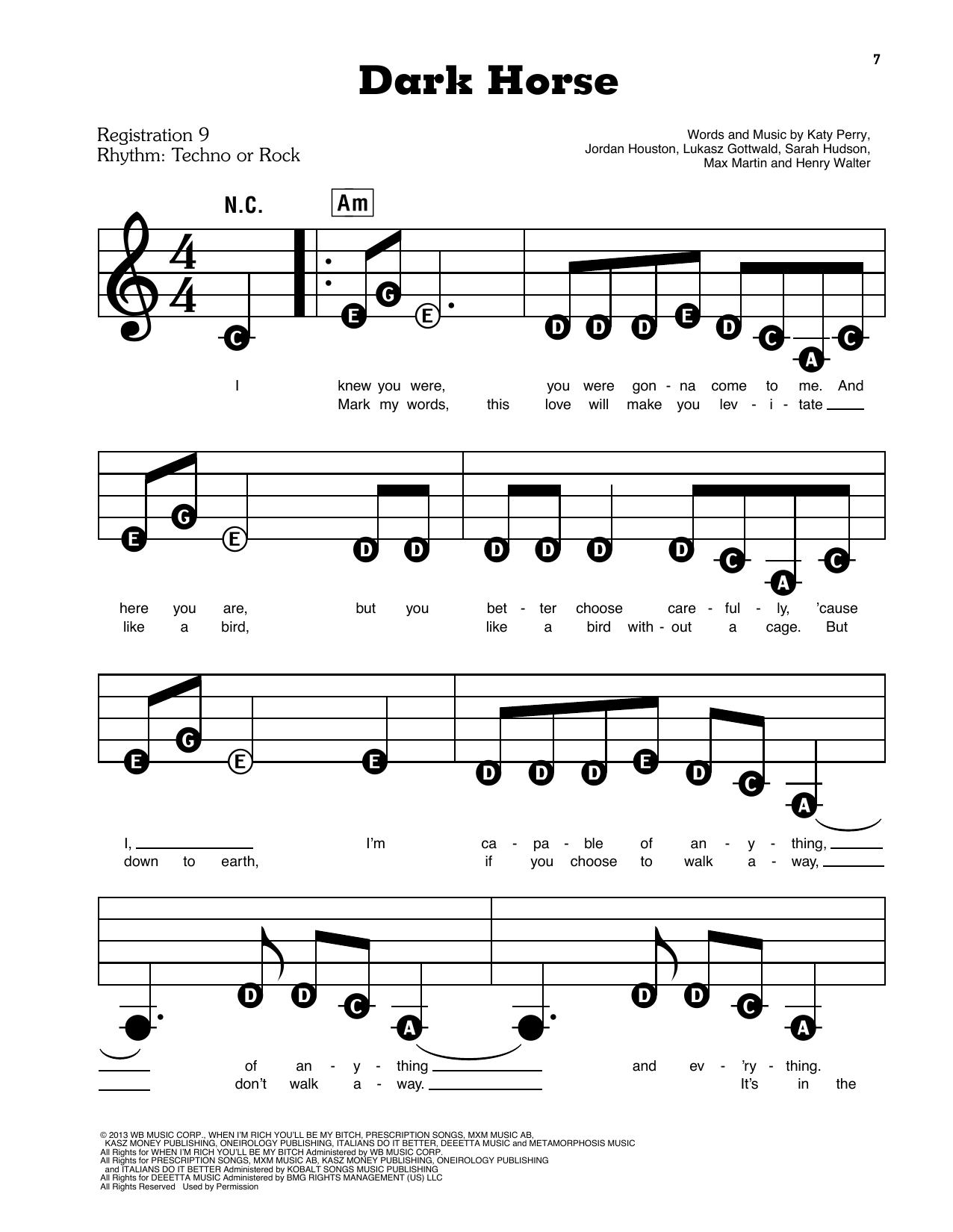 Dark Horse Sheet Music