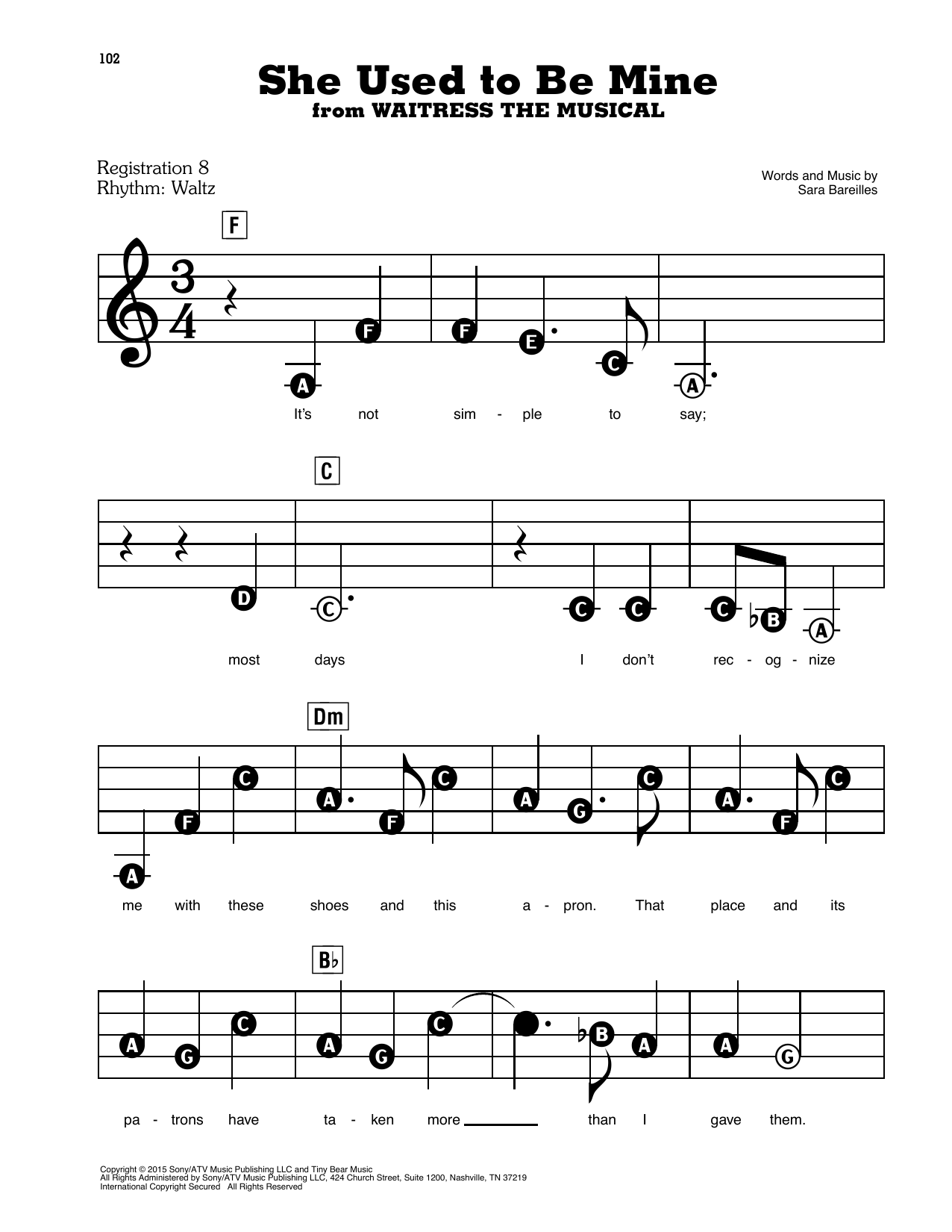 She Used To Be Mine (from Waitress the Musical) Sheet Music