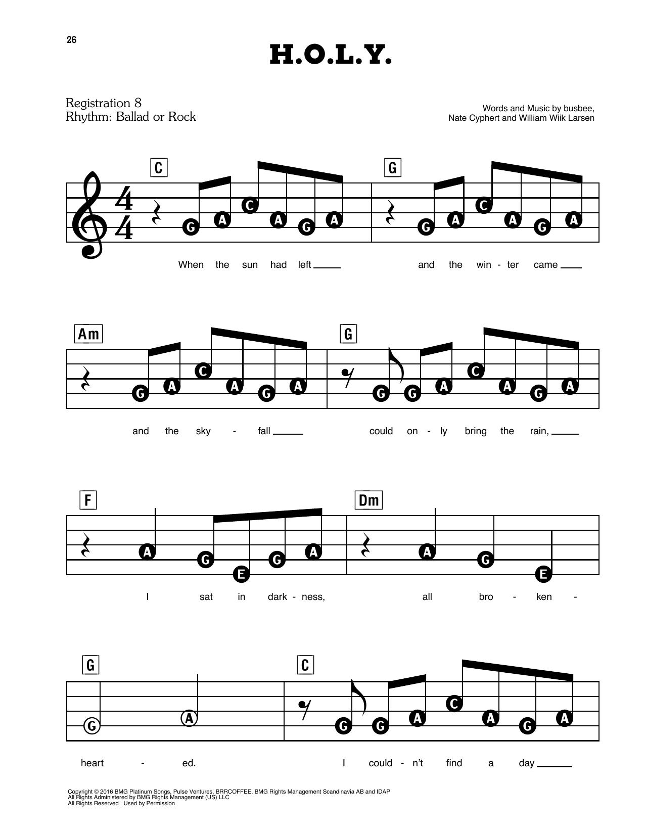 H.O.L.Y. Sheet Music