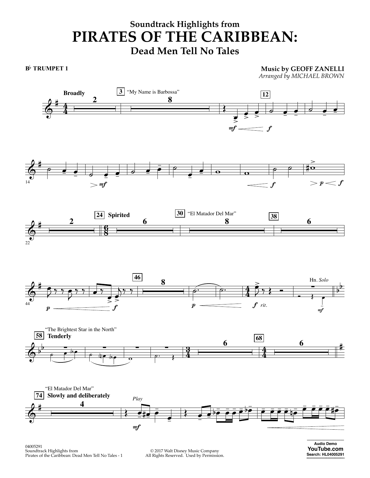 Pirates of the Caribbean: Dead Men Tell No Tales - Bb Trumpet 1 (Concert Band)