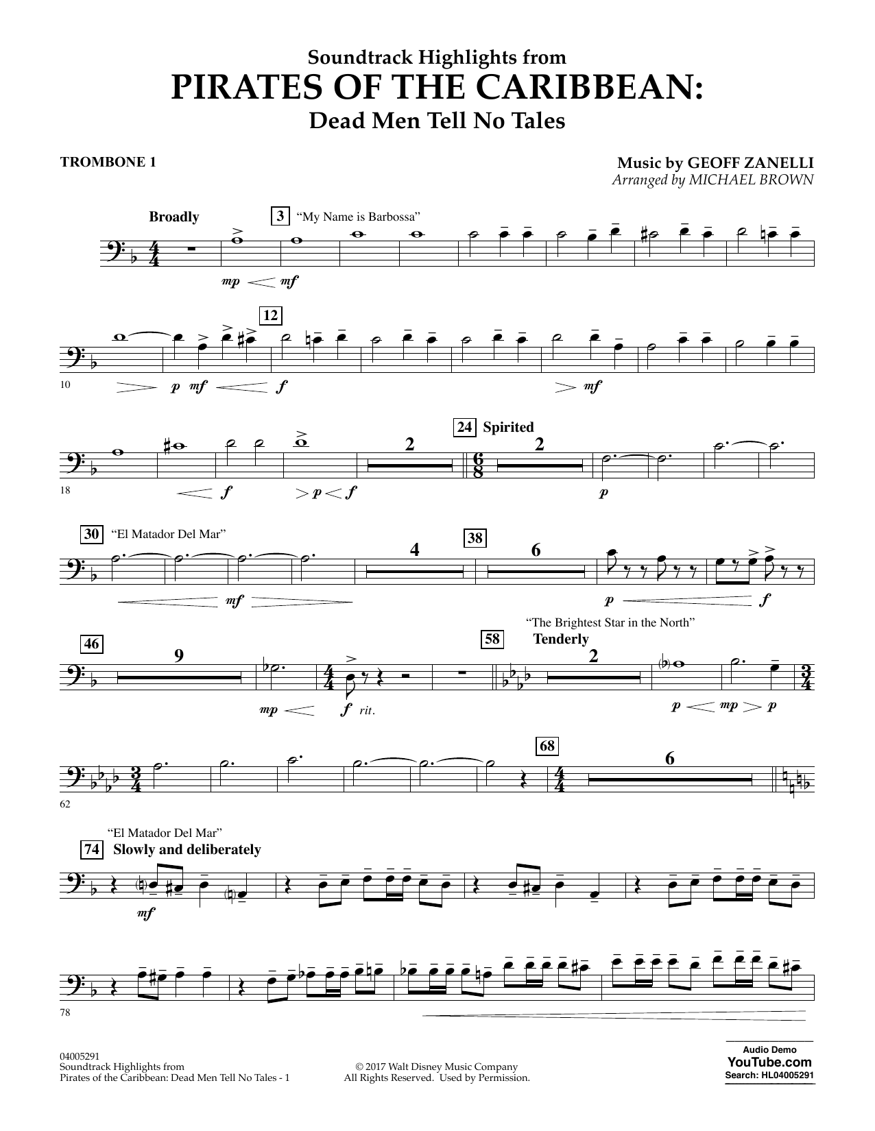 Pirates of the Caribbean: Dead Men Tell No Tales - Trombone 1 (Concert Band)