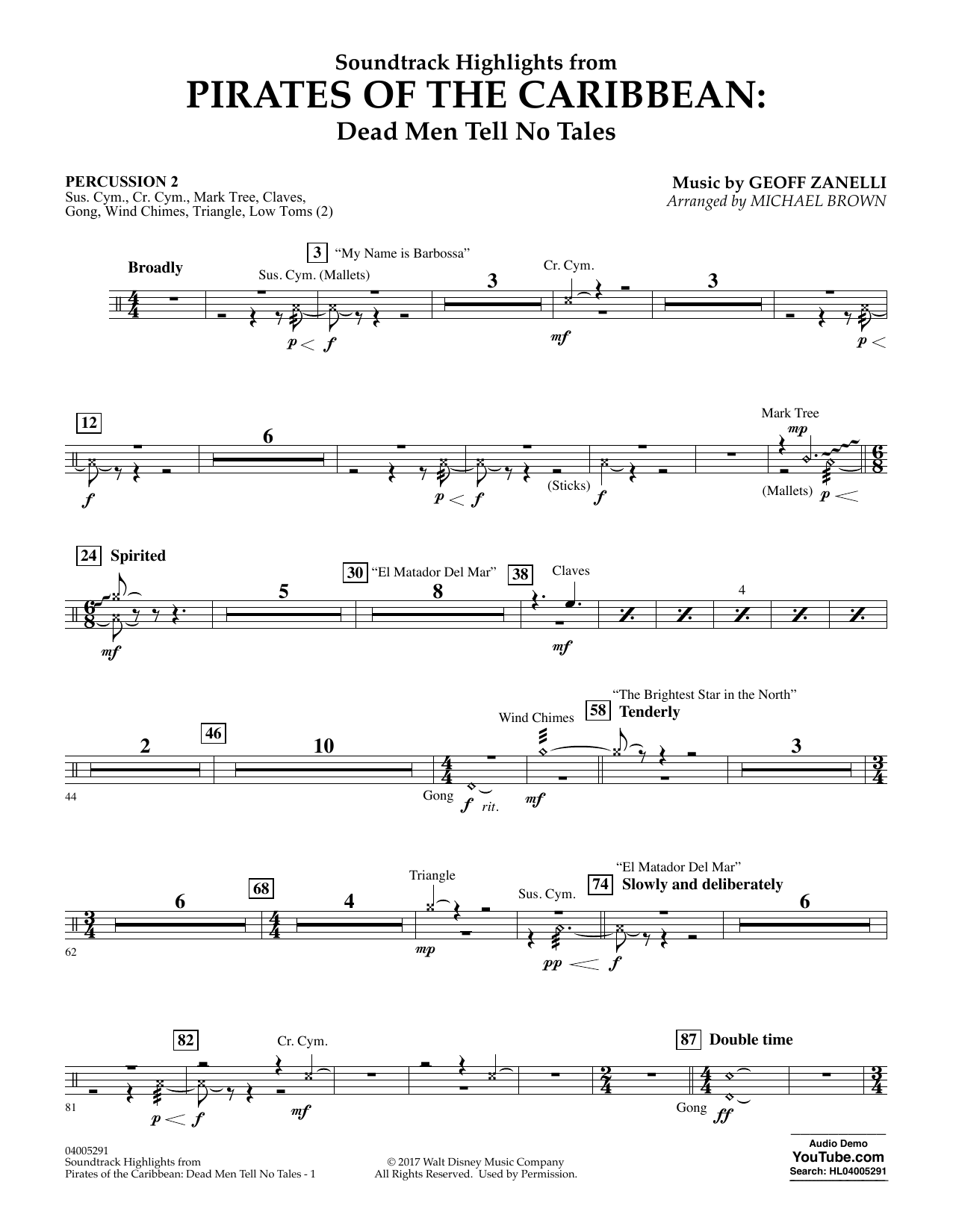 Pirates of the Caribbean: Dead Men Tell No Tales - Percussion 2 (Concert Band)