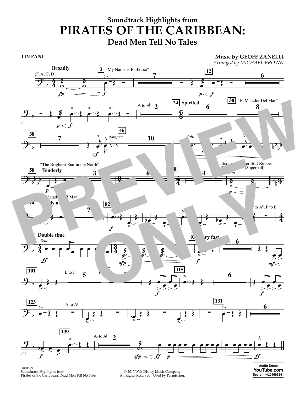 Pirates of the Caribbean: Dead Men Tell No Tales - Timpani (Concert Band)