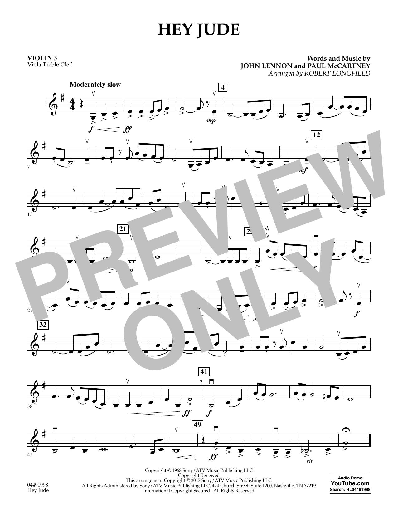 Hey Jude - Violin 3 (Viola T.C.) (Orchestra)