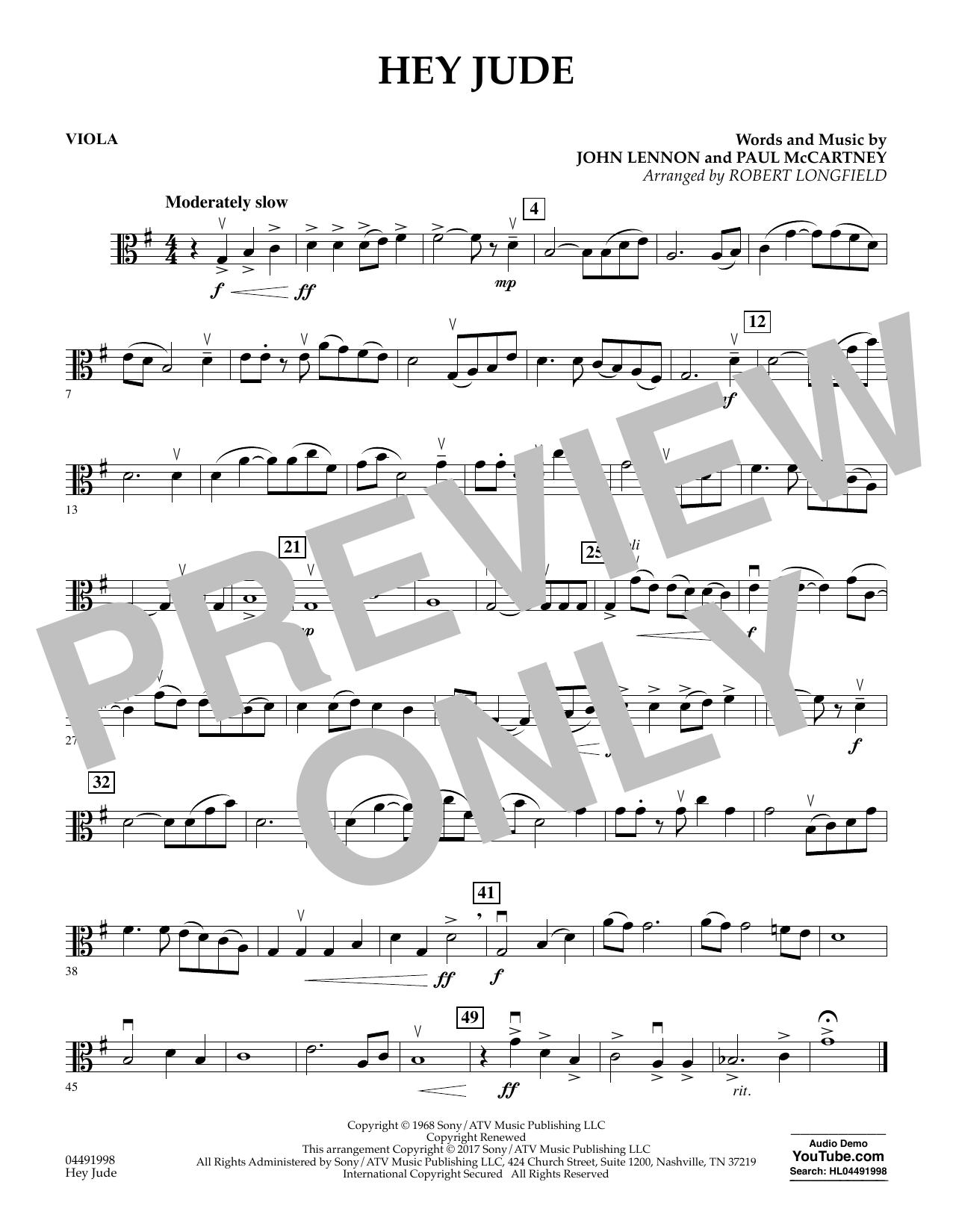 Hey Jude - Viola (Orchestra)