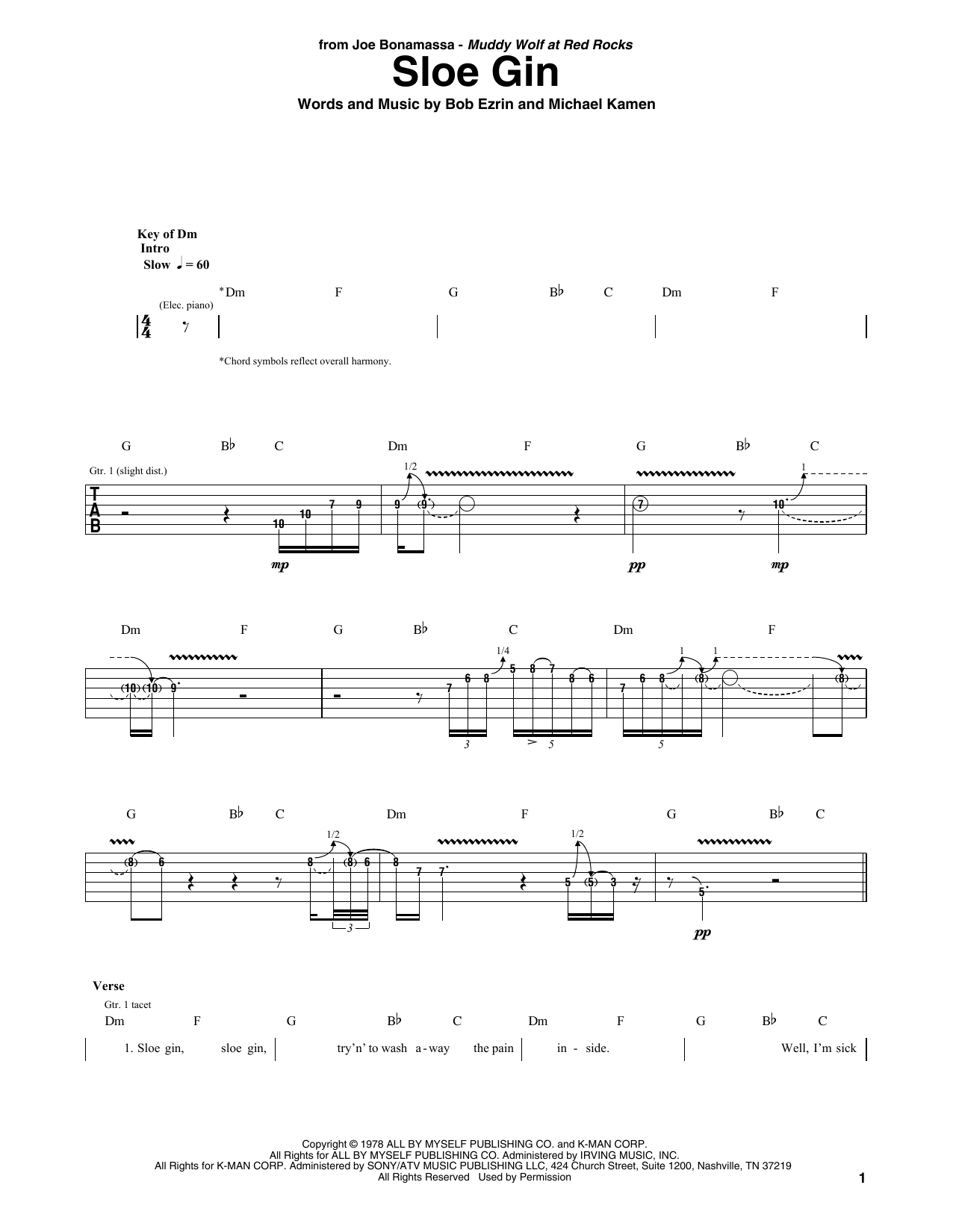 Sloe Gin (Guitar Tab)