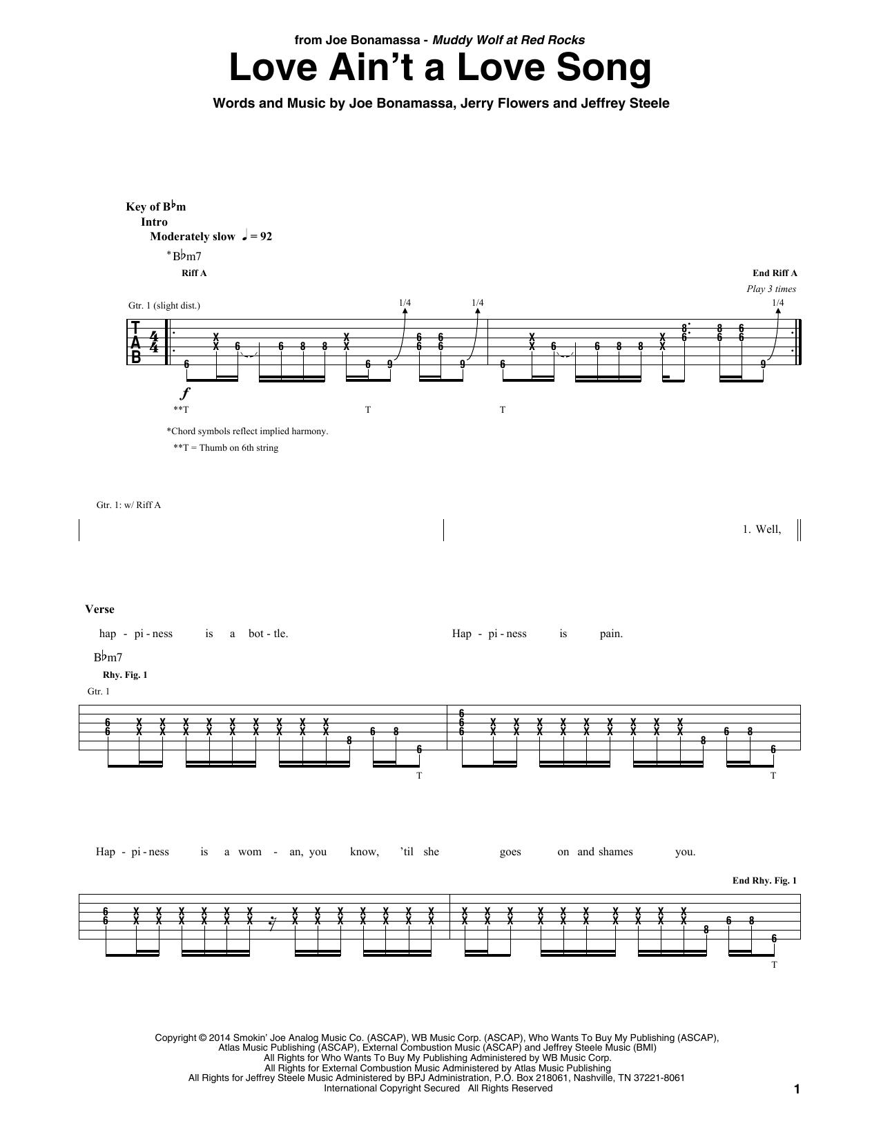 Love Ain't A Love Song (Guitar Tab)