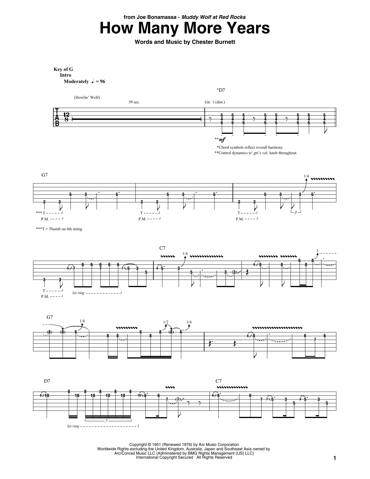 how many more years by joe bonamassa guitar rhythm tab guitar instructor. Black Bedroom Furniture Sets. Home Design Ideas