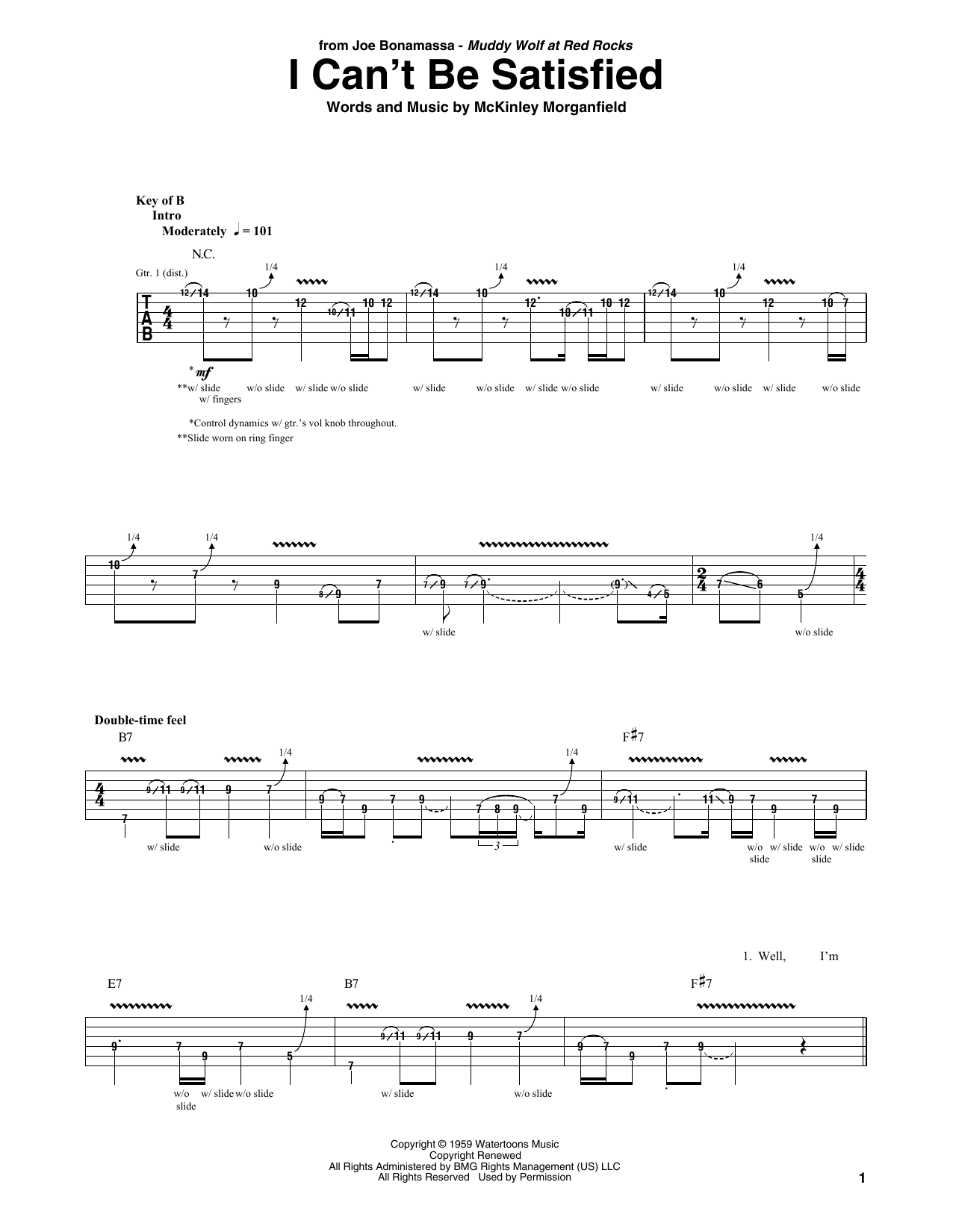 I Can't Be Satisfied (Guitar Tab)