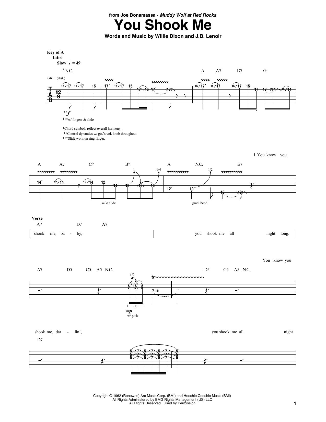You Shook Me (Guitar Tab)