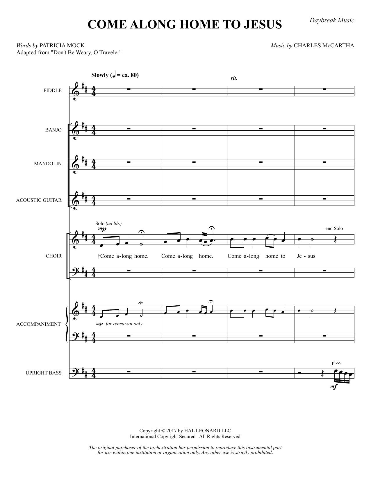 Come Along Home to Jesus - Full Score (Choir Instrumental Pak)