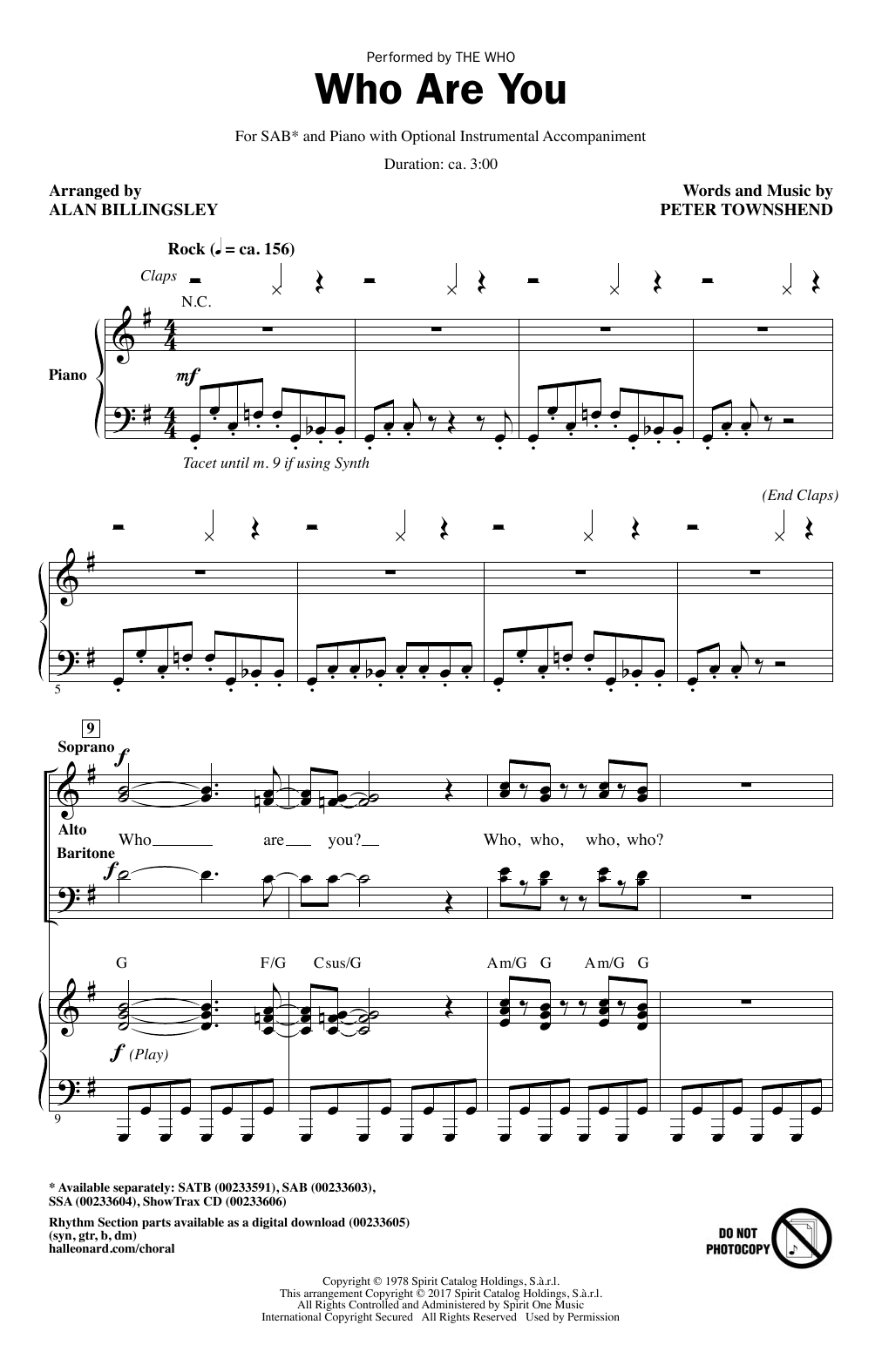 Who Are You (arr. Alan Billingsley) (SAB Choir)