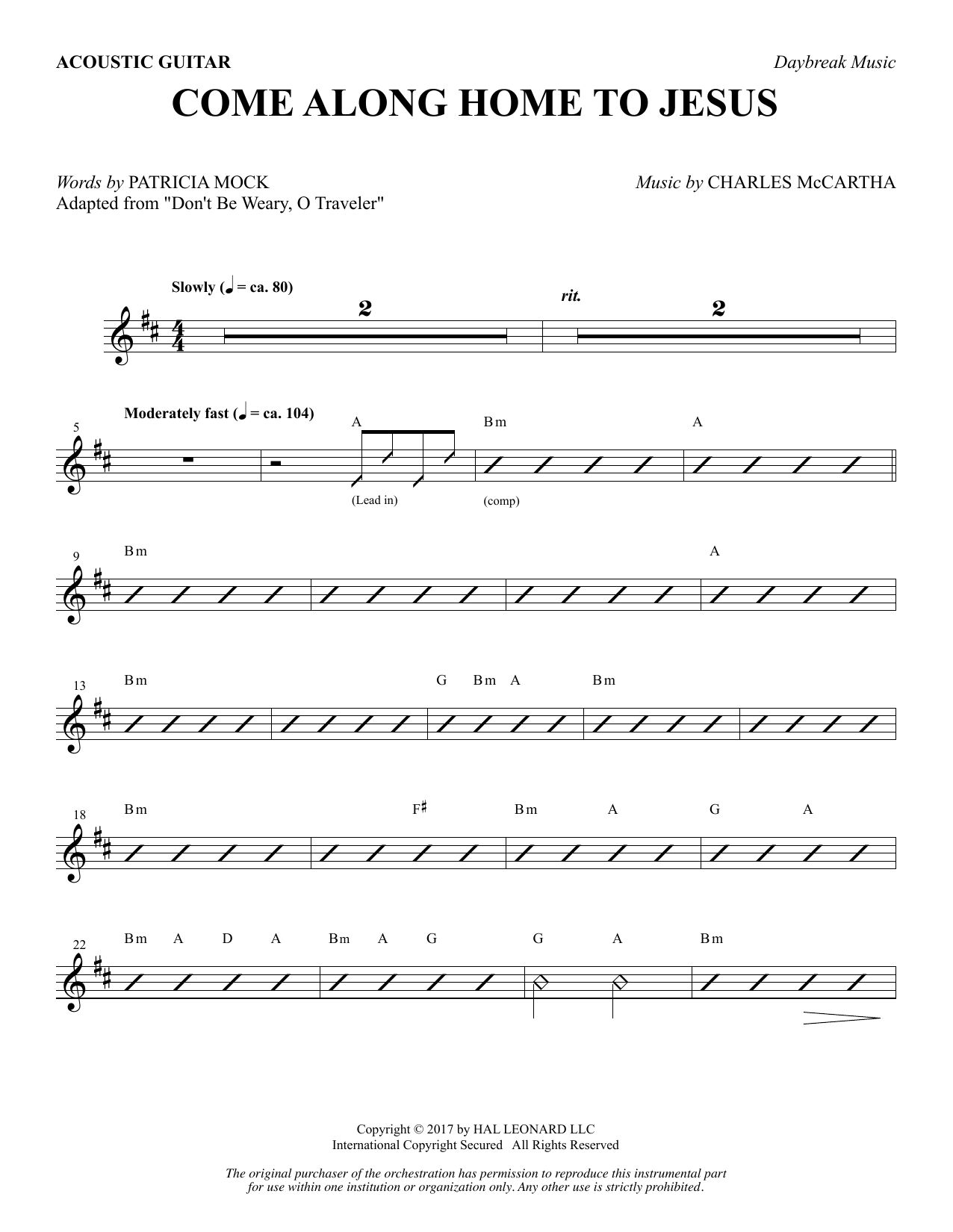 Come Along Home to Jesus - Acoustic Guitar (Choir Instrumental Pak)