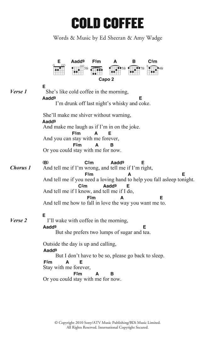 Cold Coffee By Ed Sheeran Guitar Chordslyrics Guitar Instructor