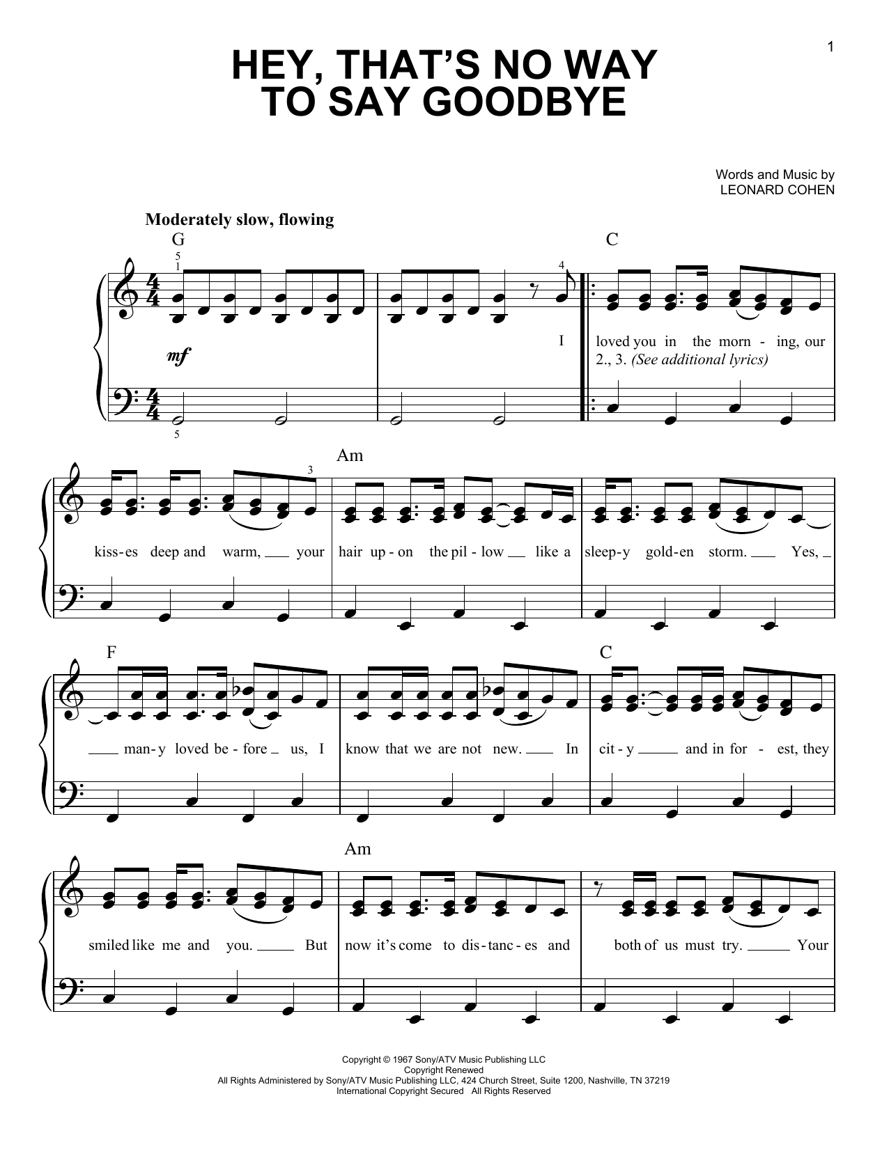 Hey, That's No Way To Say Goodbye (Easy Piano)