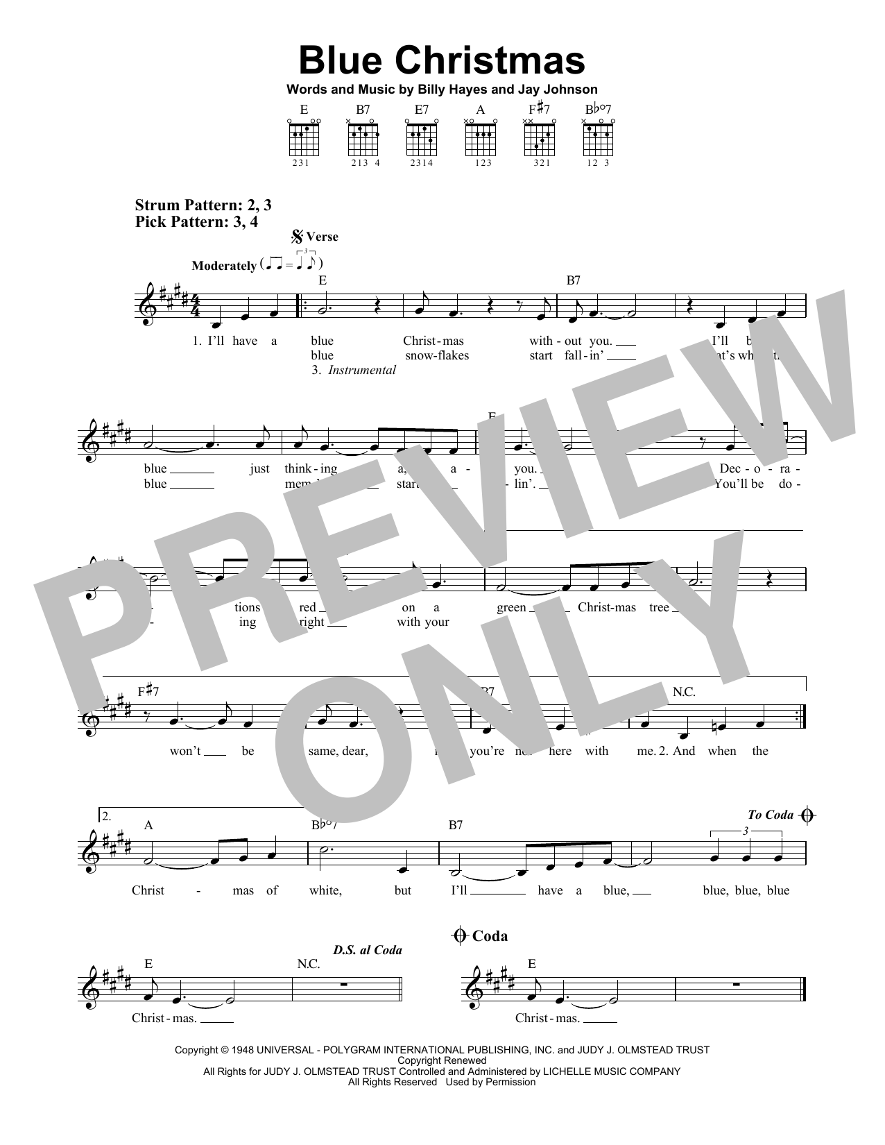 Blue Christmas (Easy Guitar)